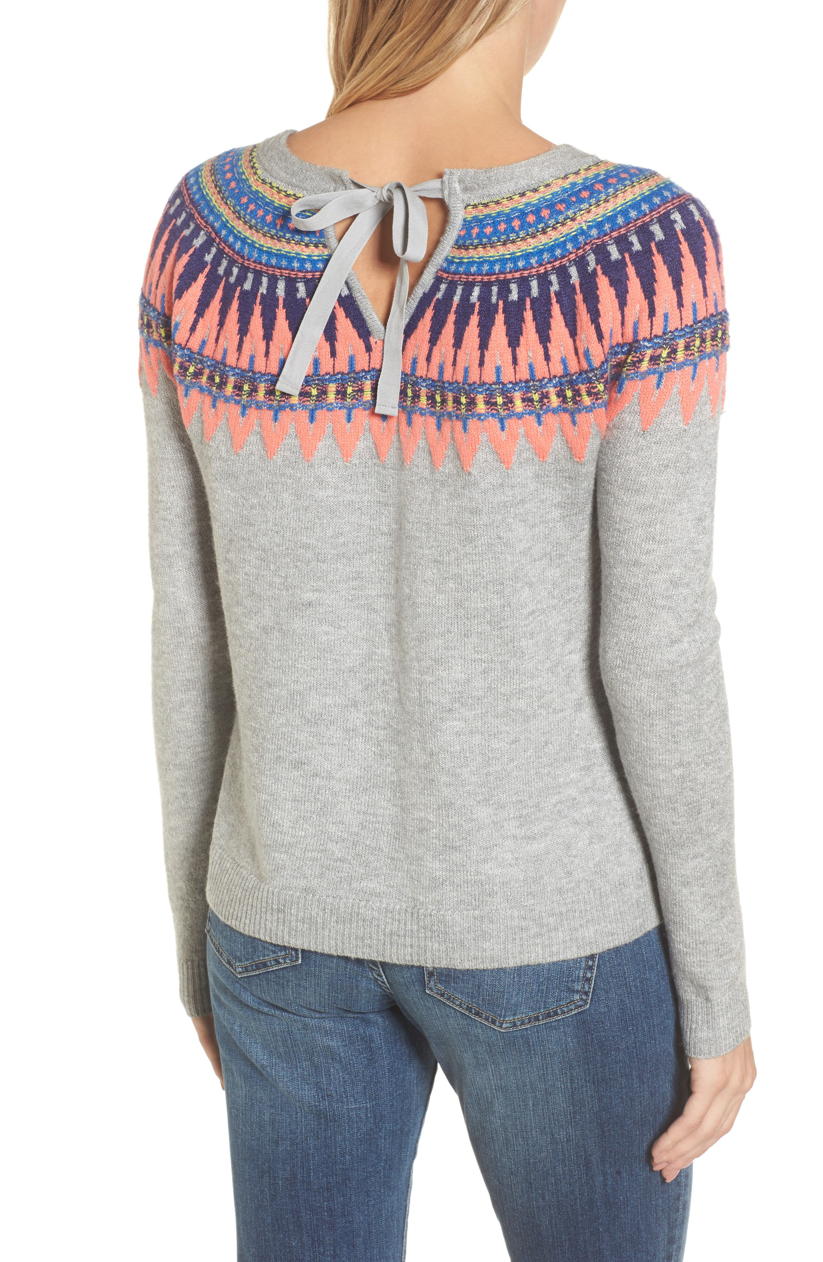 Tie Back Patterned Sweater,                             Alternate thumbnail 3, color,                             Grey- Pink Pattern