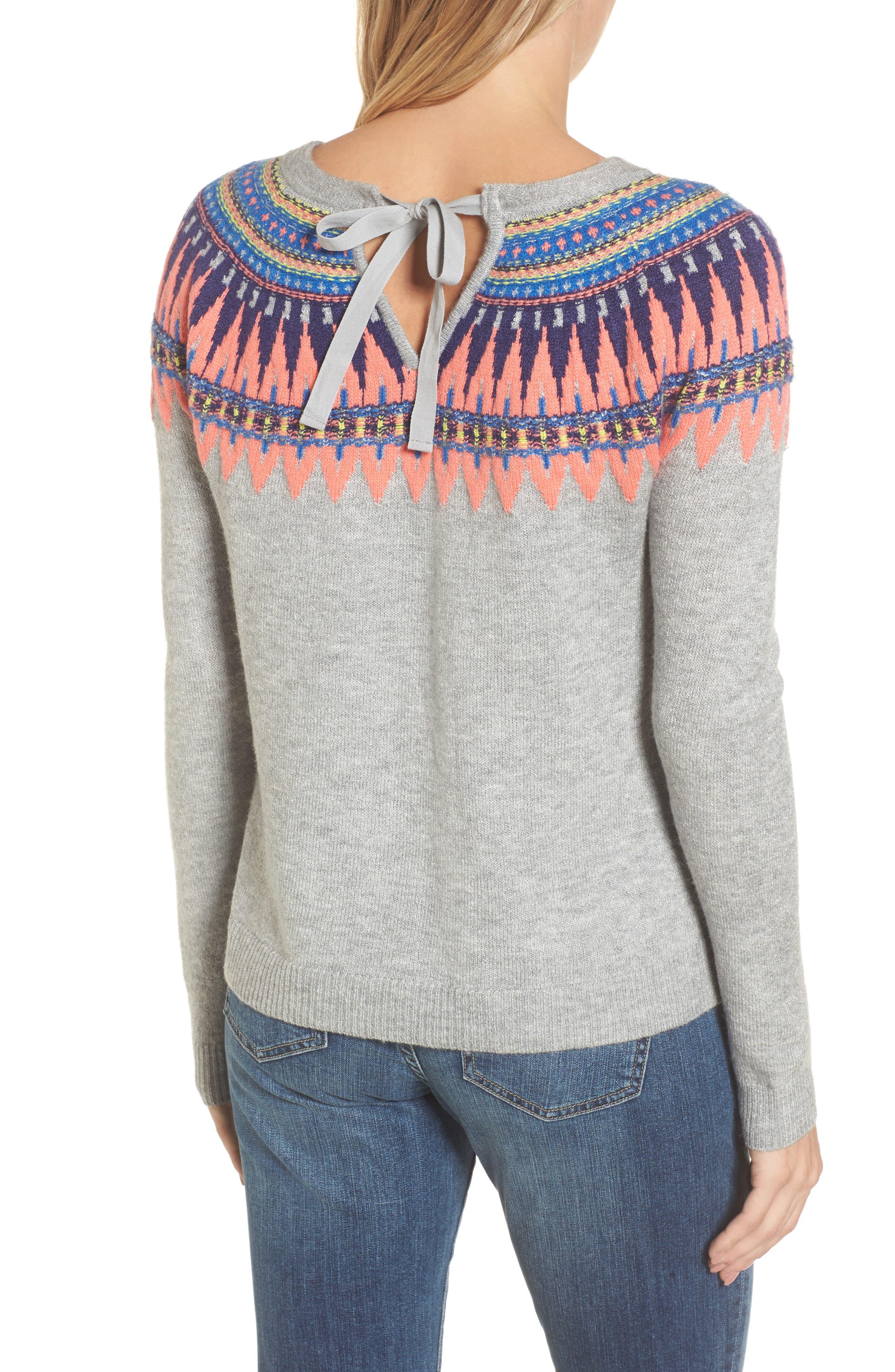 Alternate Image 3  - Caslon® Tie Back Patterned Sweater (Regular & Petite)
