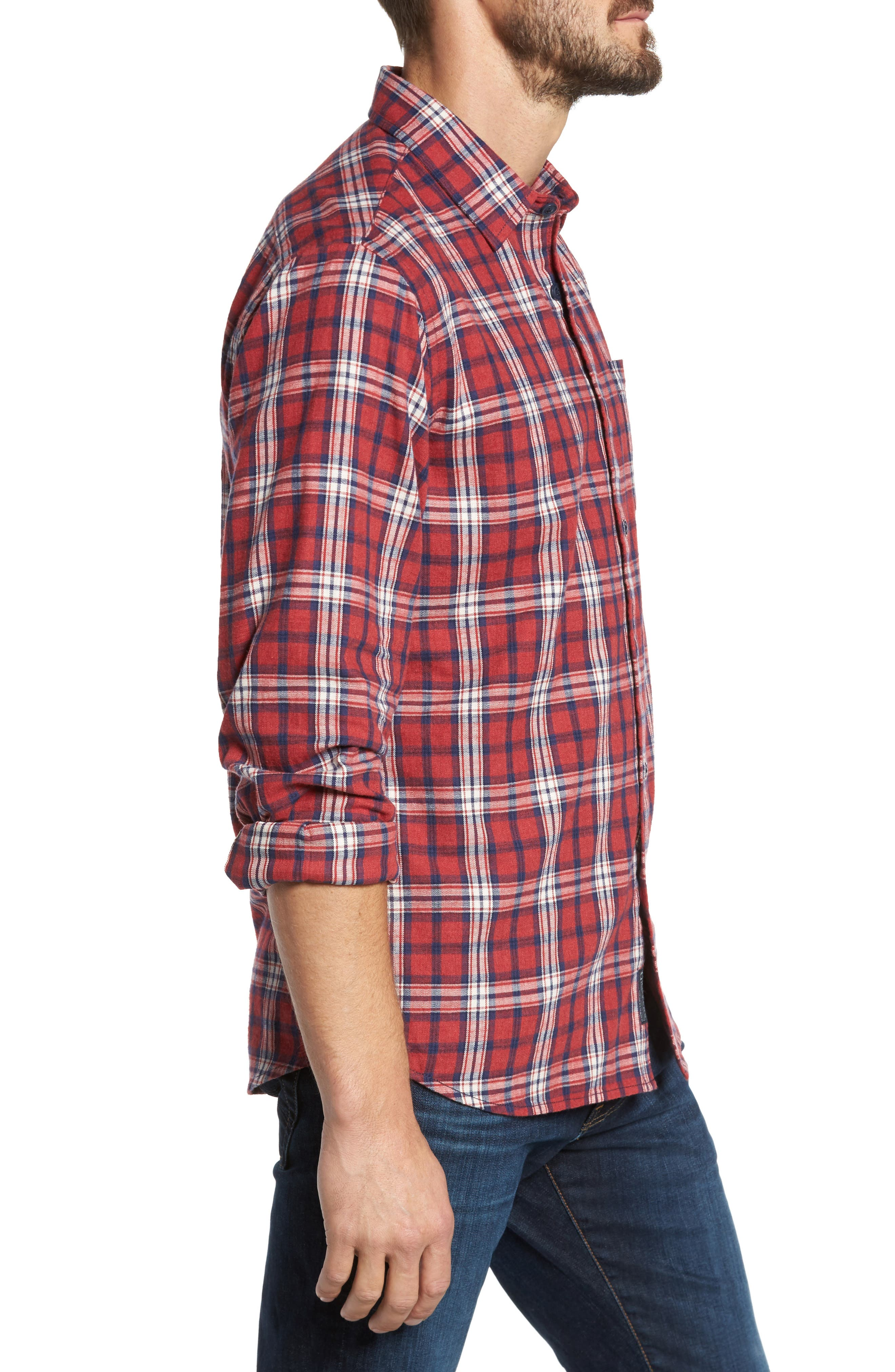 Winslow Slub Plaid Twill Sport Shirt,                             Alternate thumbnail 3, color,                             Red