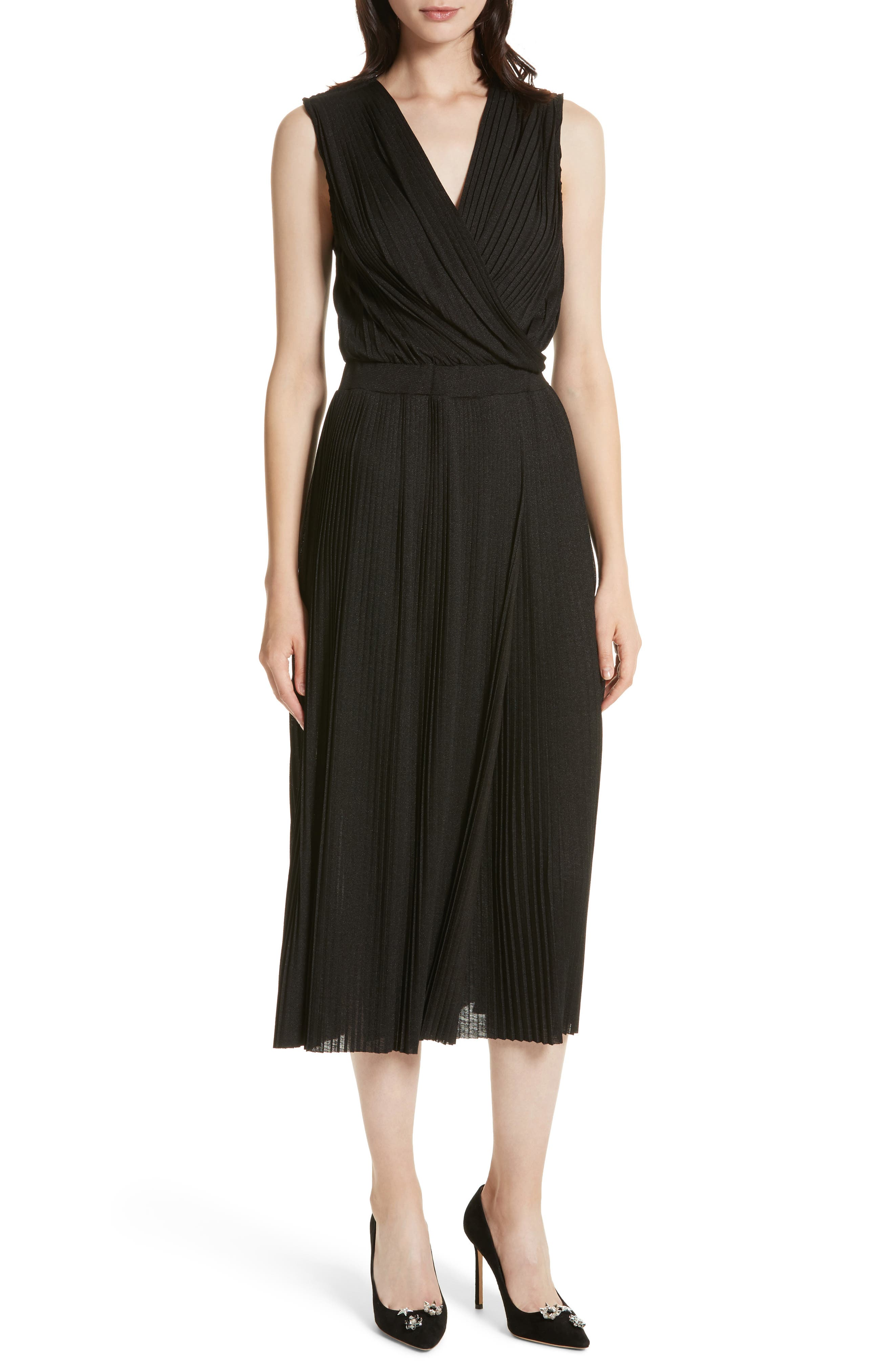 Surplice Fit & Flare Dress,                         Main,                         color, Black