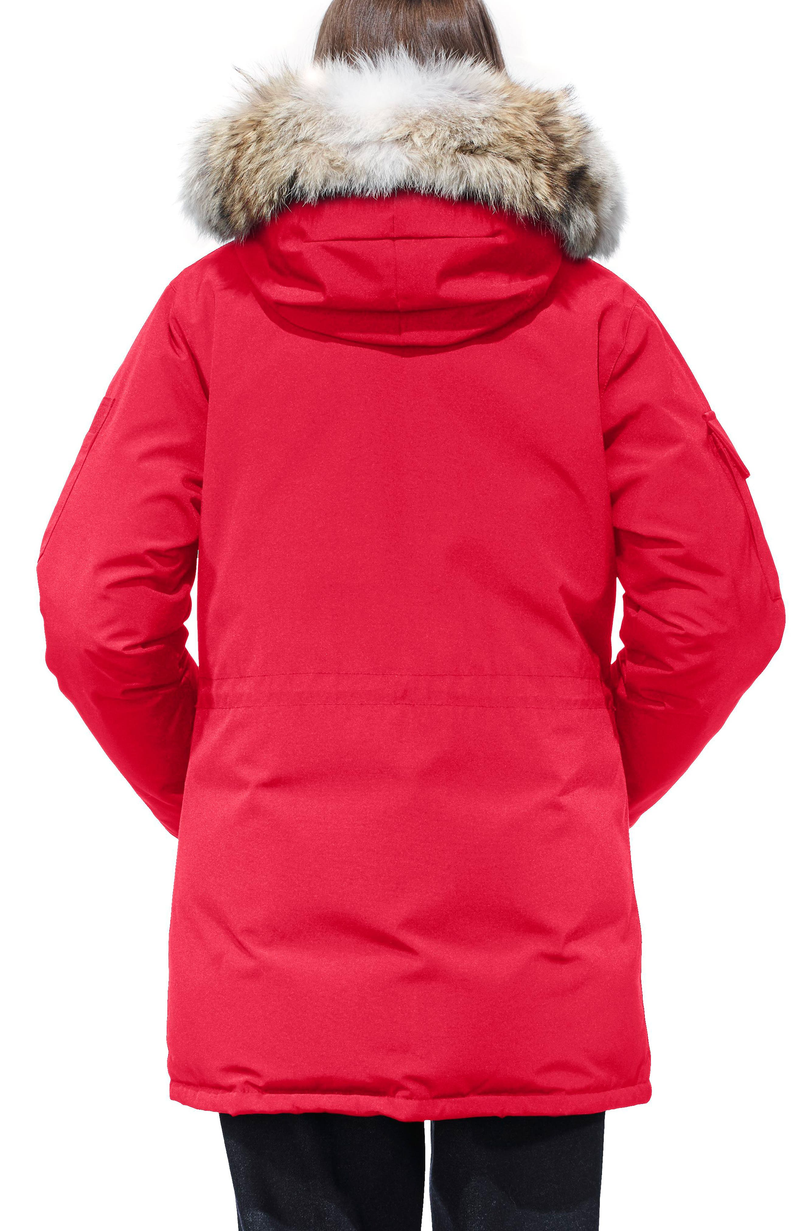 'Expedition' Relaxed Fit Down Parka with Genuine Coyote Fur,                             Alternate thumbnail 2, color,                             Red