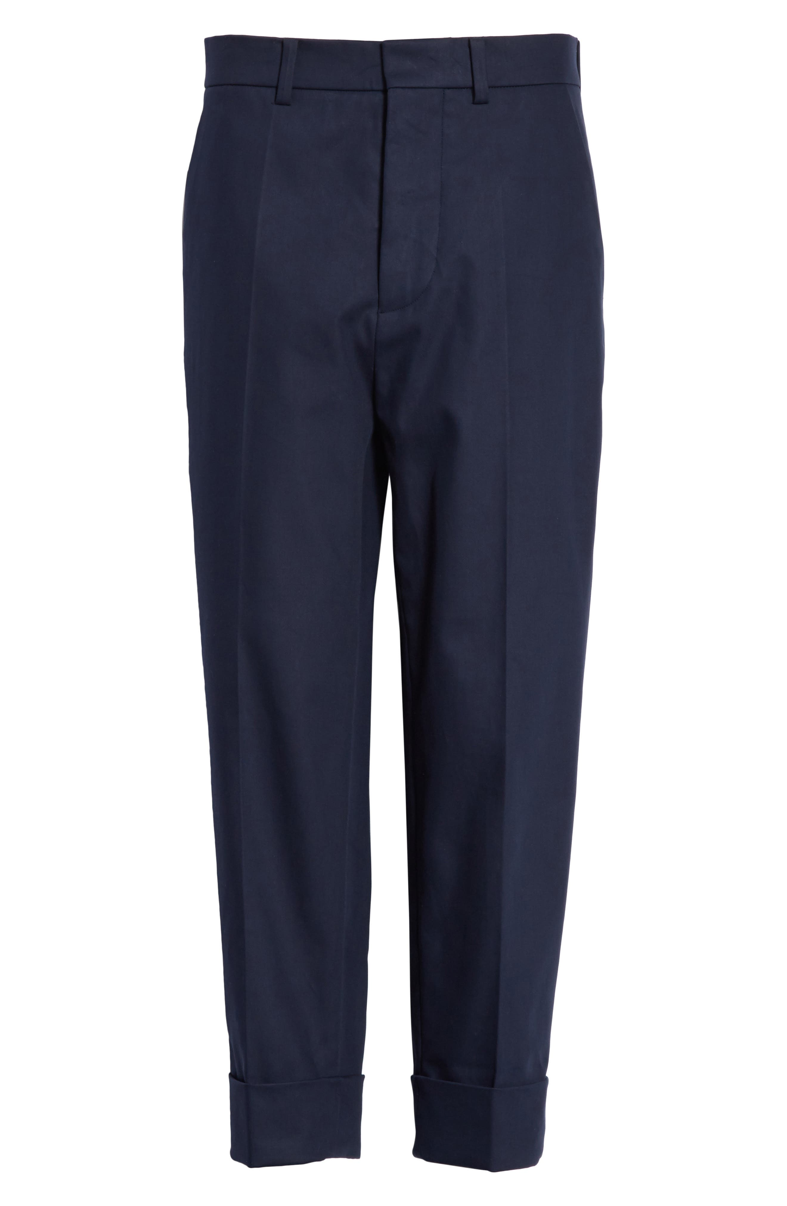 Cuffed Crop Pants,                             Alternate thumbnail 6, color,                             Navy Blue