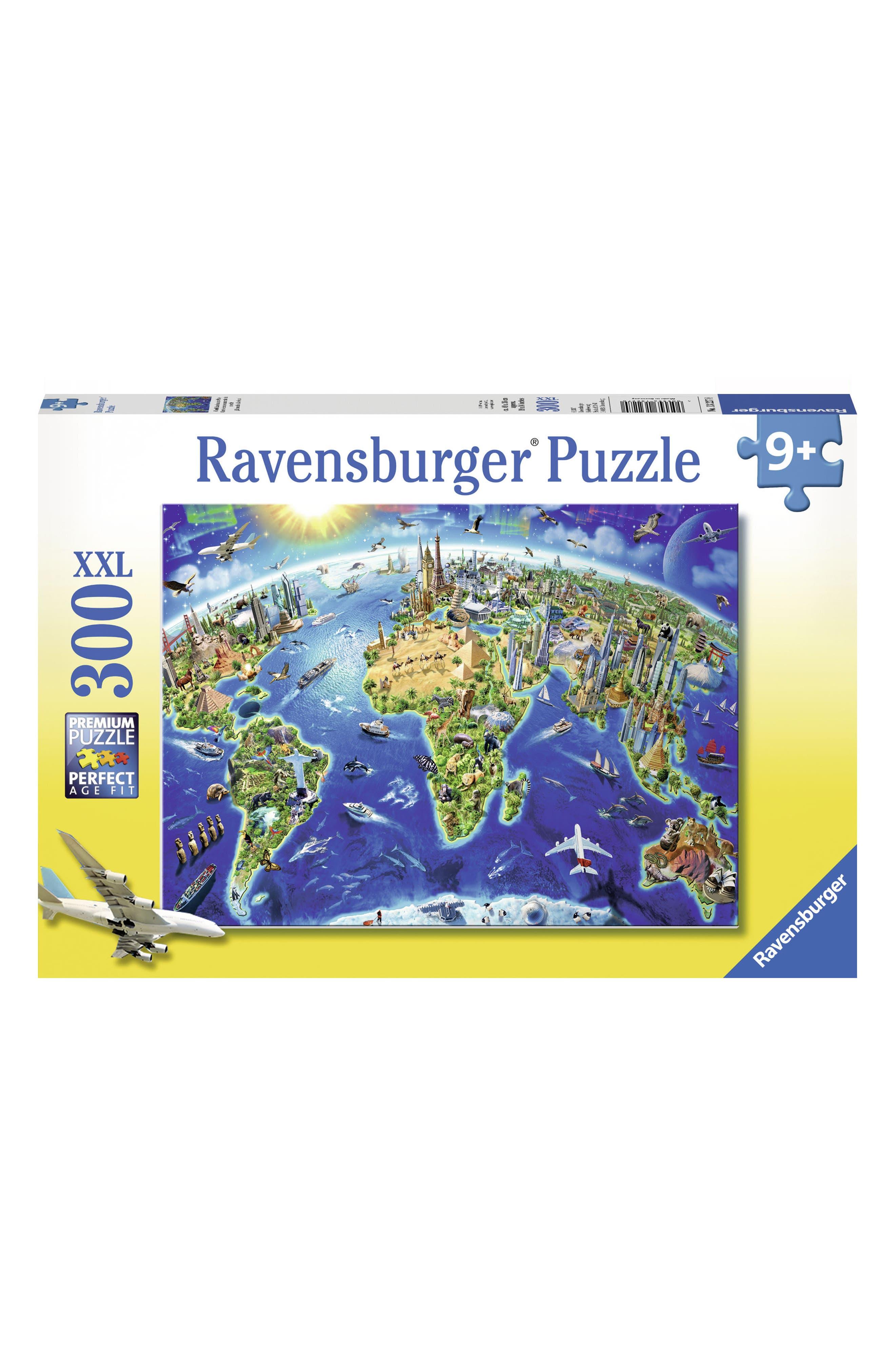 World Landmarks Map 300-Piece Puzzle,                         Main,                         color, Blue