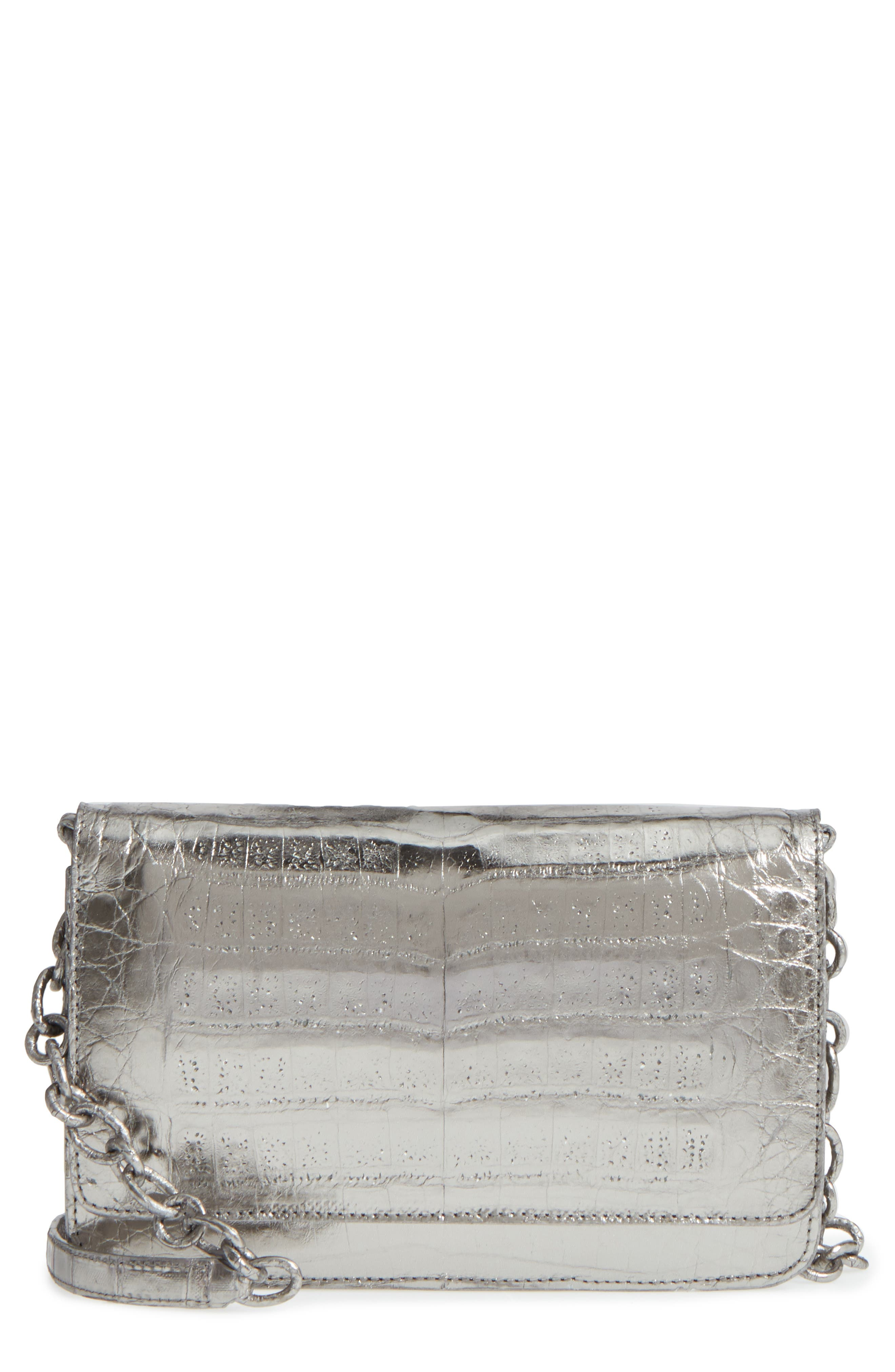 Nancy Gonzalez Genuine Crocodile Metallic Wallet on a Chain