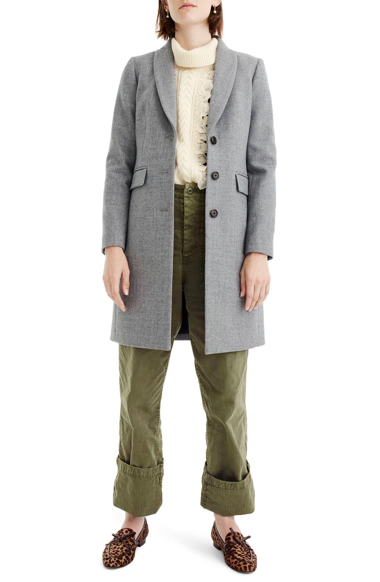 Eniko Wool Topcoat,                         Main,                         color, Heather Graphite