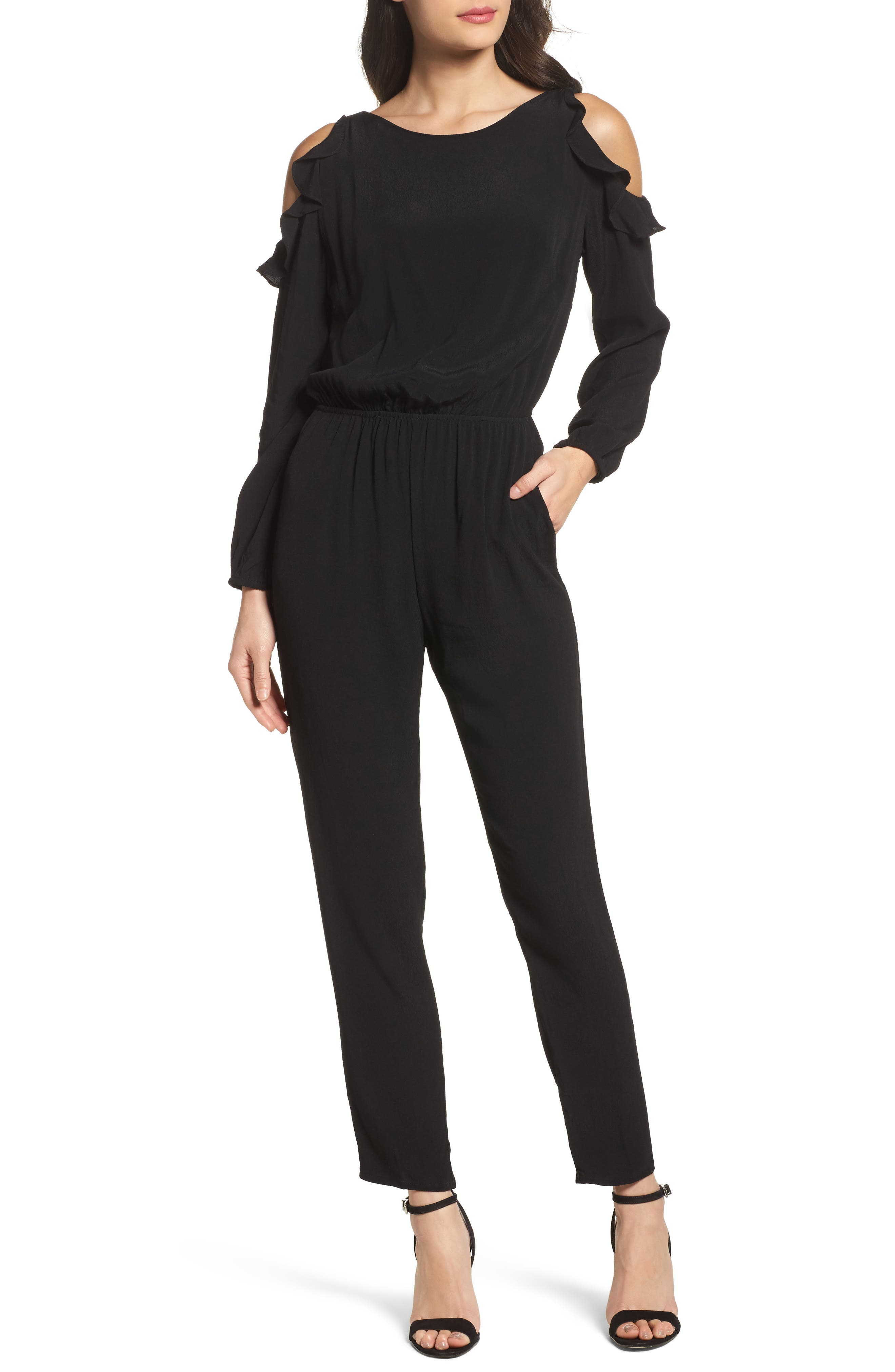 Alternate Image 1 Selected - Fraiche by J Ruffle Cold Shoulder Jumpsuit