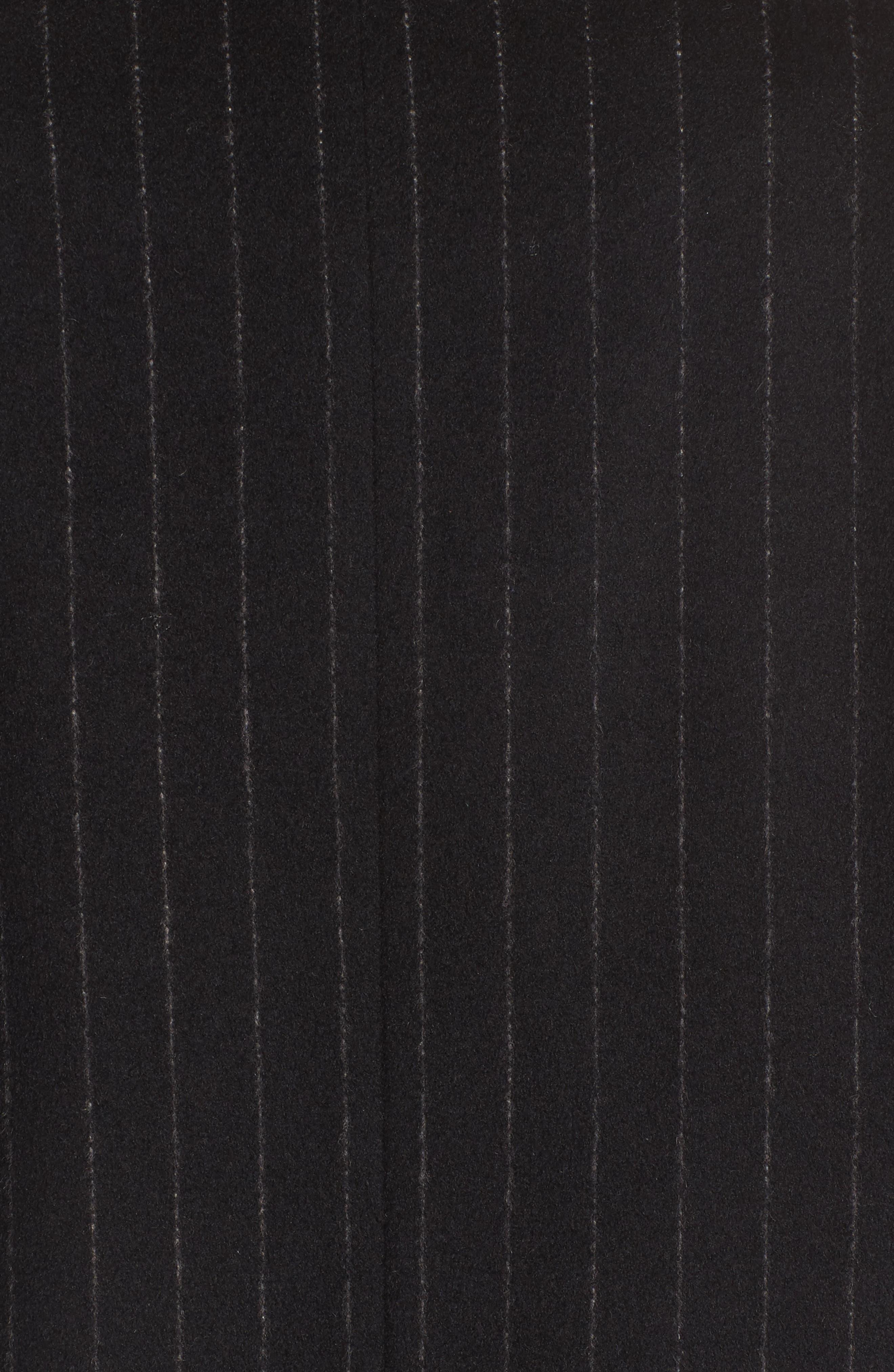 DKNY Pinstripe Wool Blend Coat,                             Alternate thumbnail 5, color,                             Black