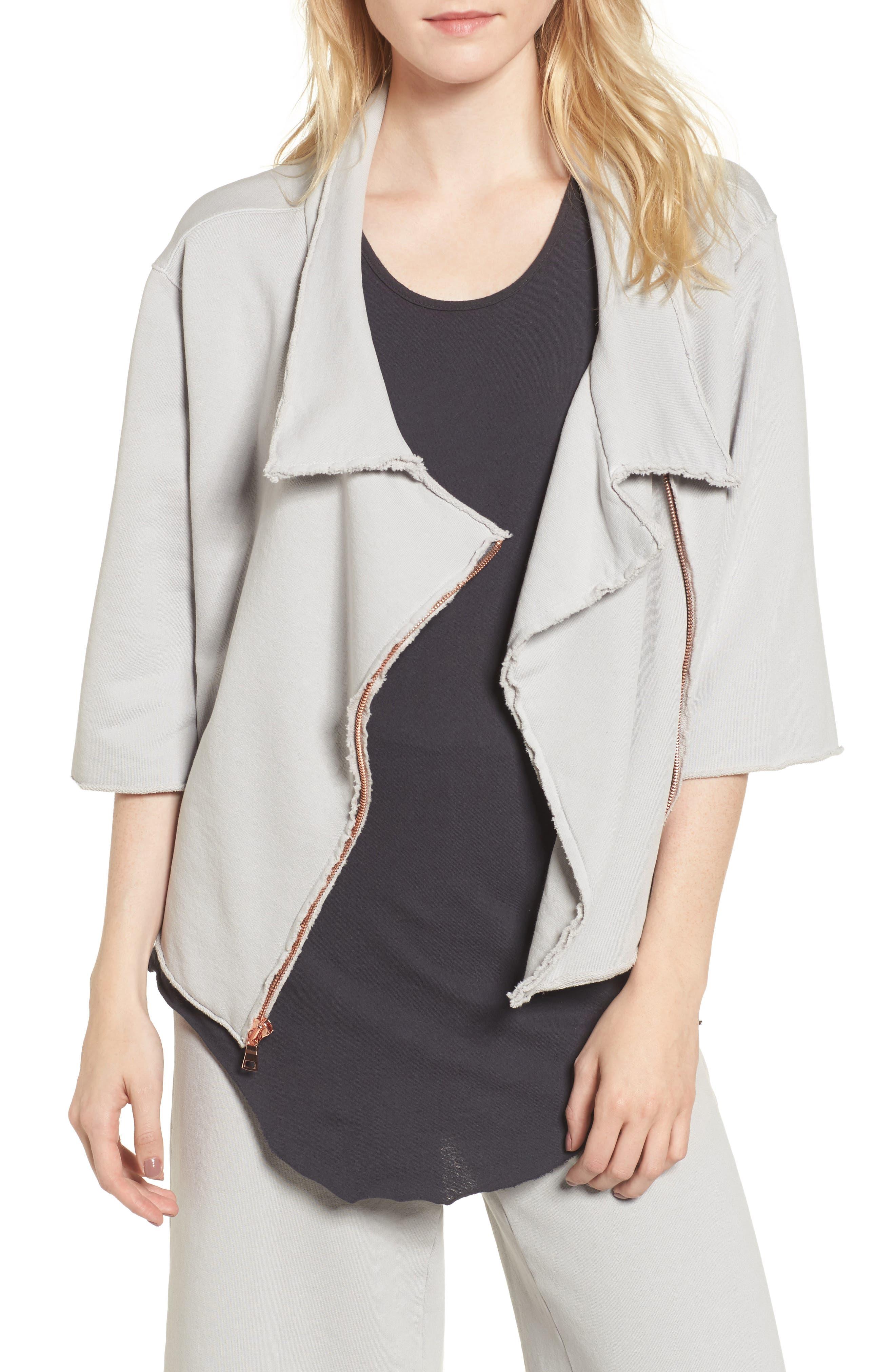 Moto Zip Sweatshirt,                         Main,                         color, Grey Area