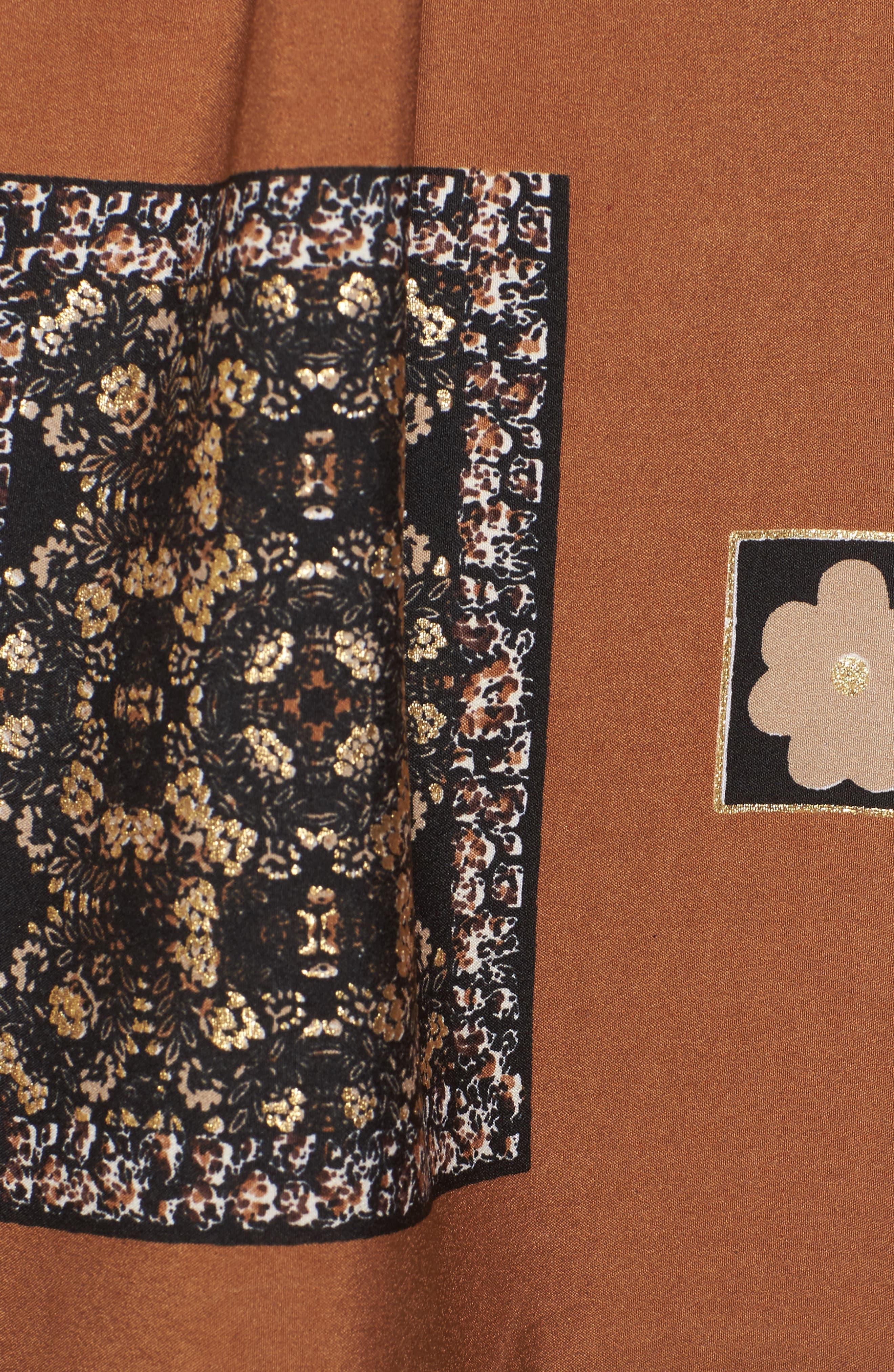 Sonder Print Plunging Minidress,                             Alternate thumbnail 5, color,                             Brown