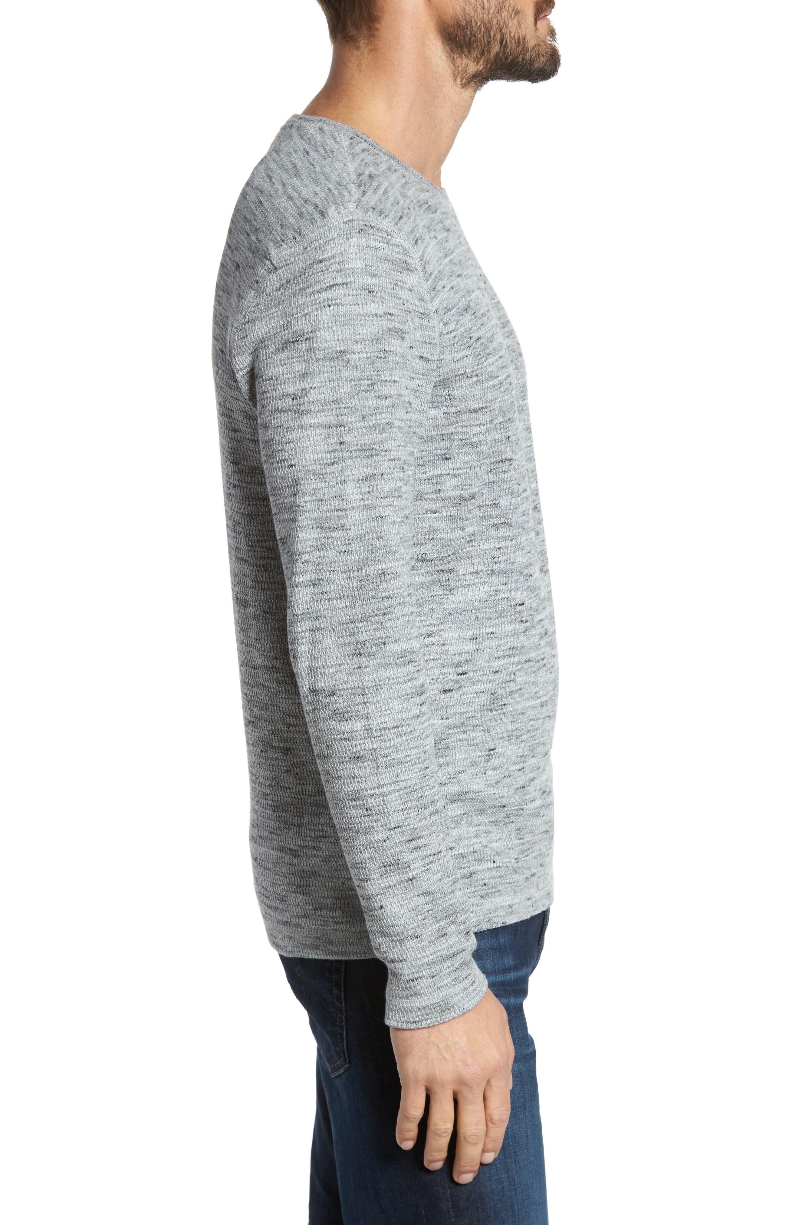 Waffle Knit Shirt,                             Alternate thumbnail 3, color,                             Grey Sleet Melange