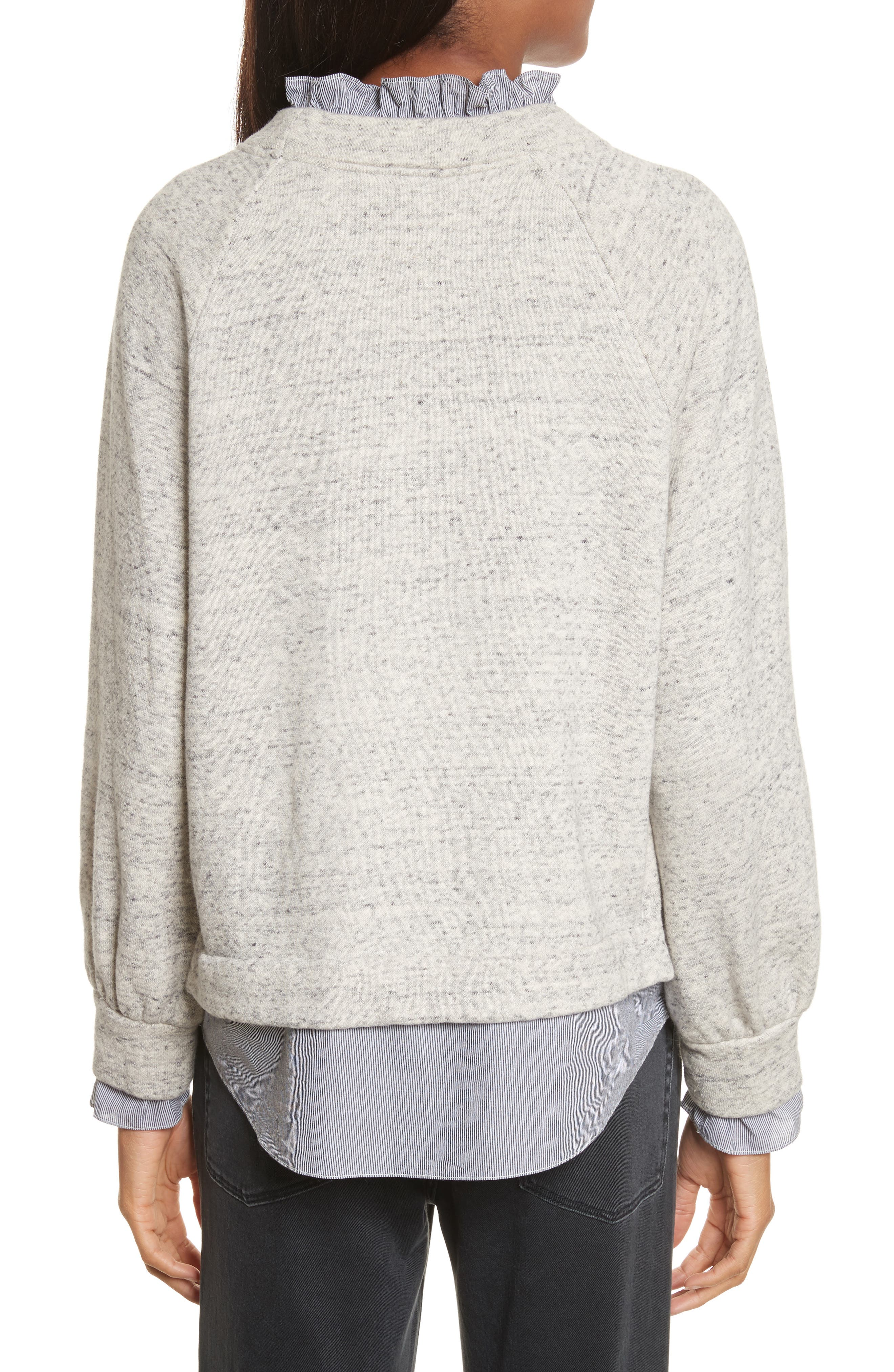 French Terry & Poplin Pullover,                             Alternate thumbnail 2, color,                             Grey Speckle