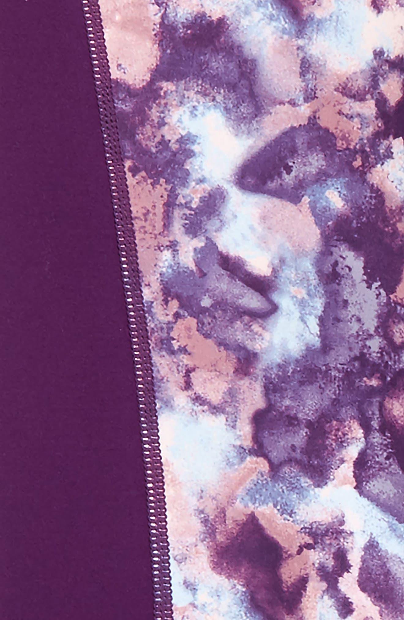 Print High Waist Leggings,                             Alternate thumbnail 2, color,                             Purple Royal Watercolor Cloud