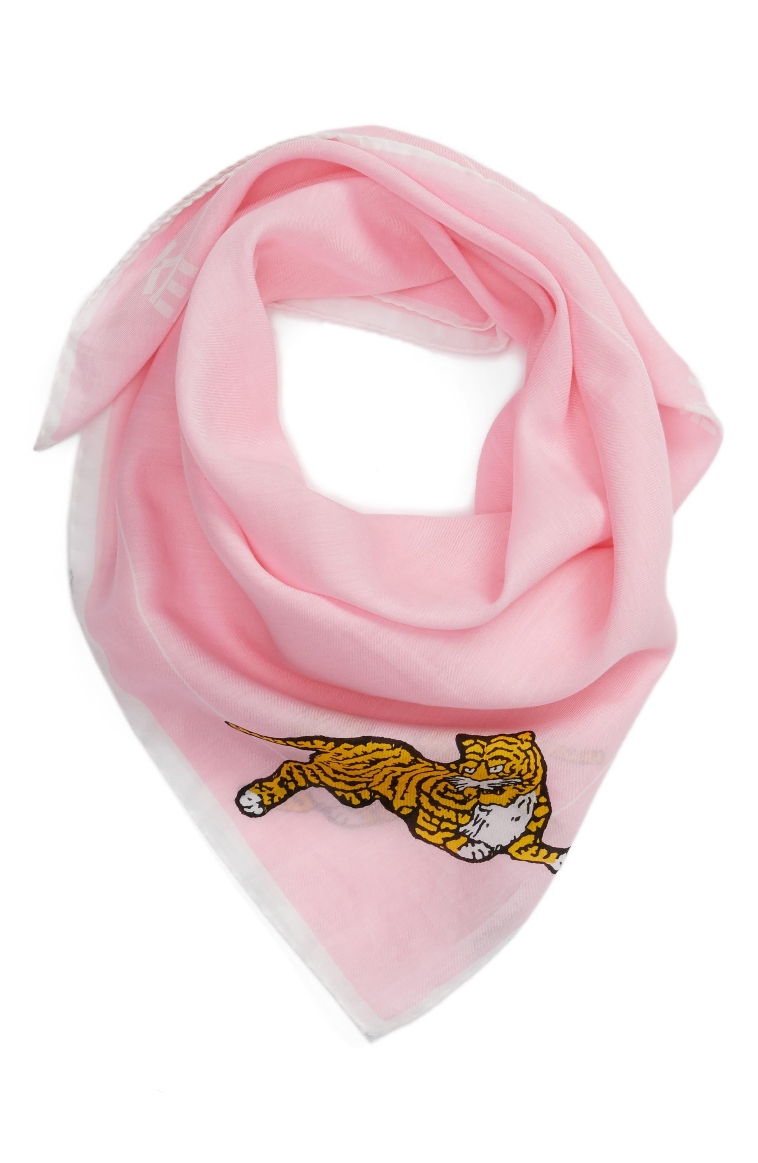 Walking Tiger Bandana Cotton & Silk Scarf,                             Alternate thumbnail 3, color,                             Faded Pink