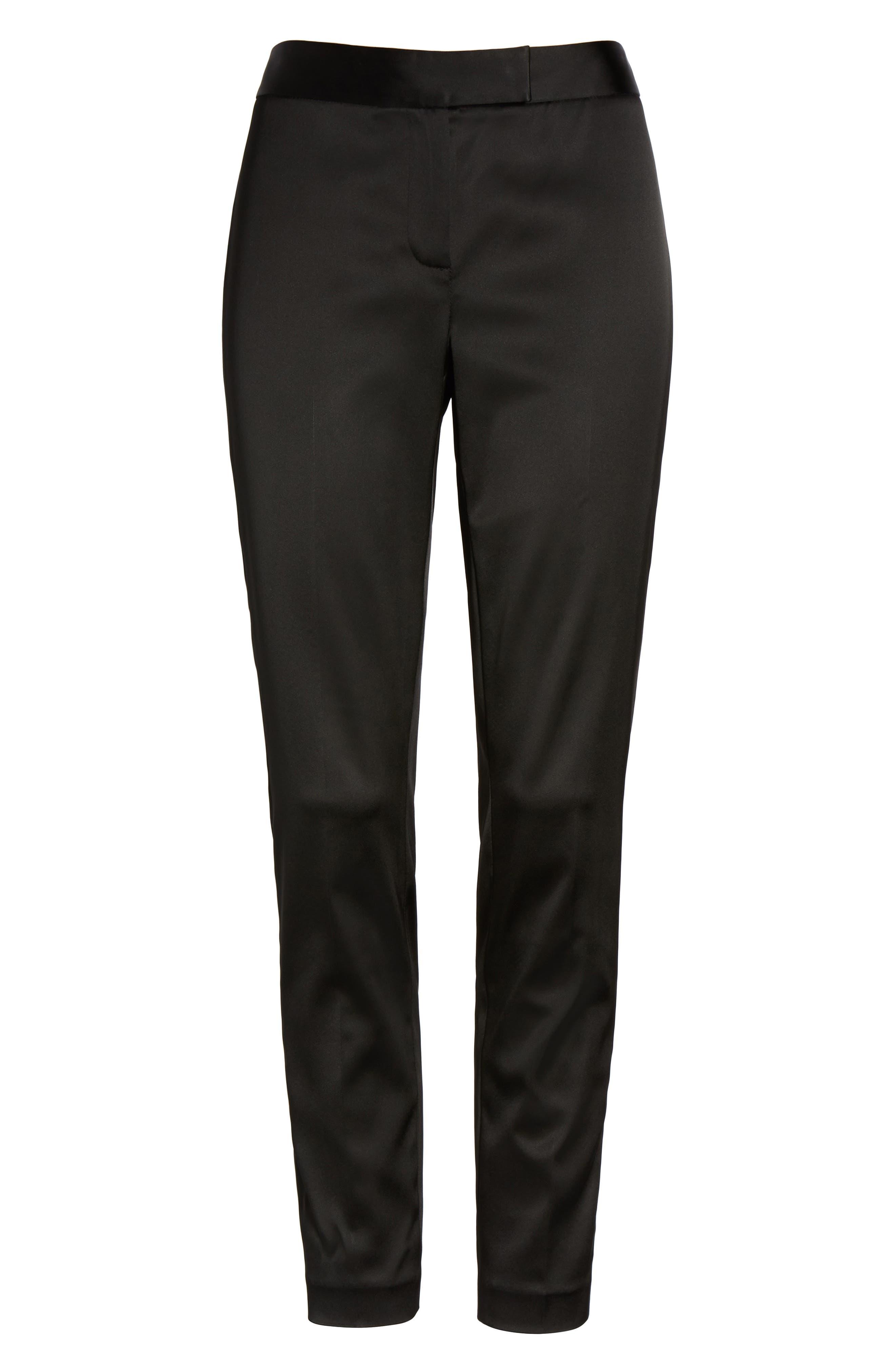 Stretch Satin Skinny Trousers,                             Alternate thumbnail 6, color,                             Black