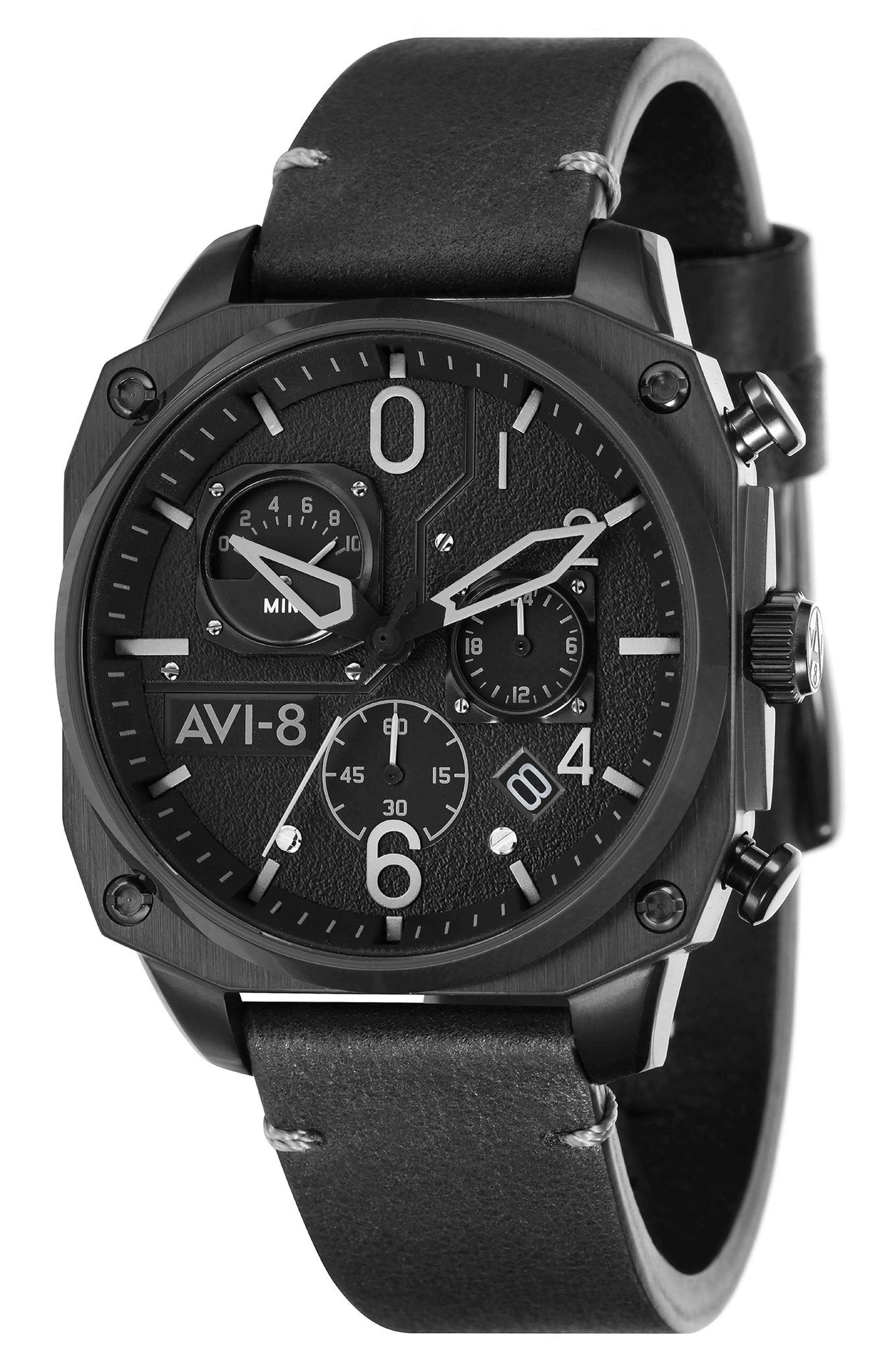 Hawker Hunter Chronograph Leather Strap Watch, 45mm,                             Main thumbnail 1, color,                             Black/ Black