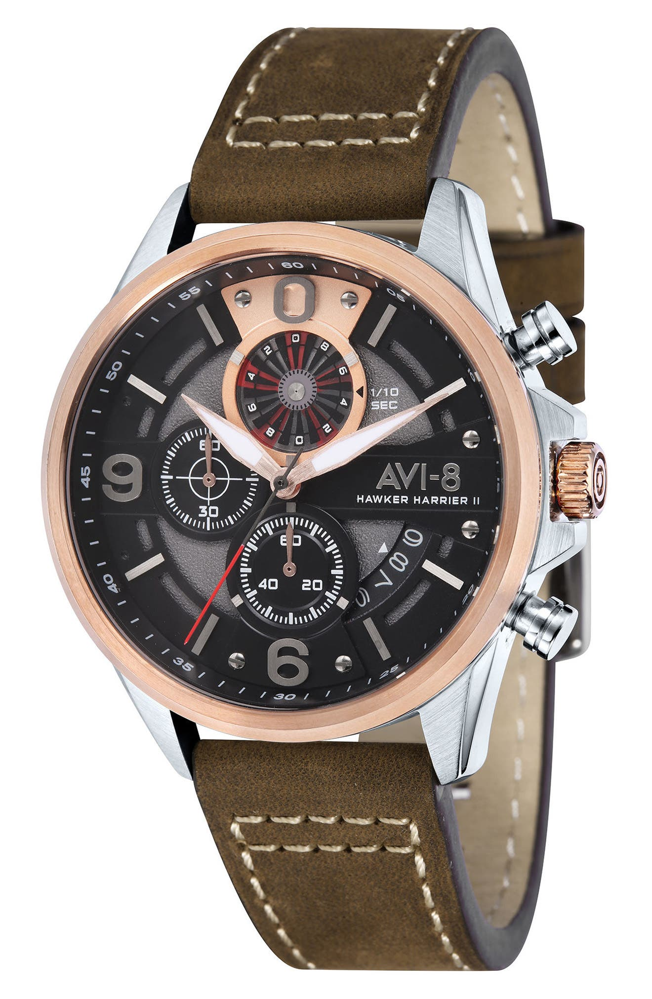 Hawker Harrier II Turbine Chronograph Leather Strap Watch, 45mm,                         Main,                         color, Black/ Rose Gold/ Brown