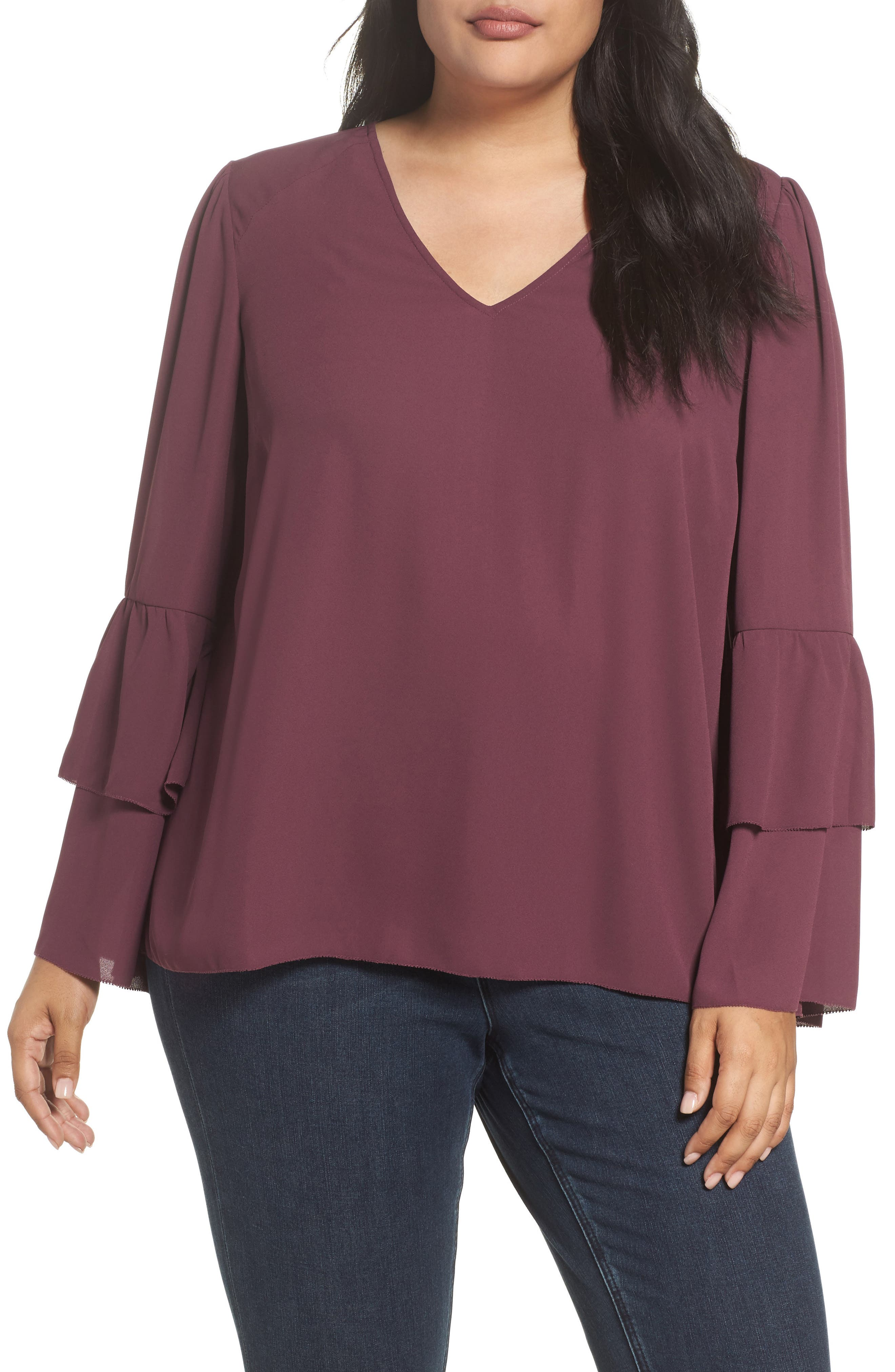Melissa McCarthy Seven7 Tiered Sleeve Blouse (Plus Size)