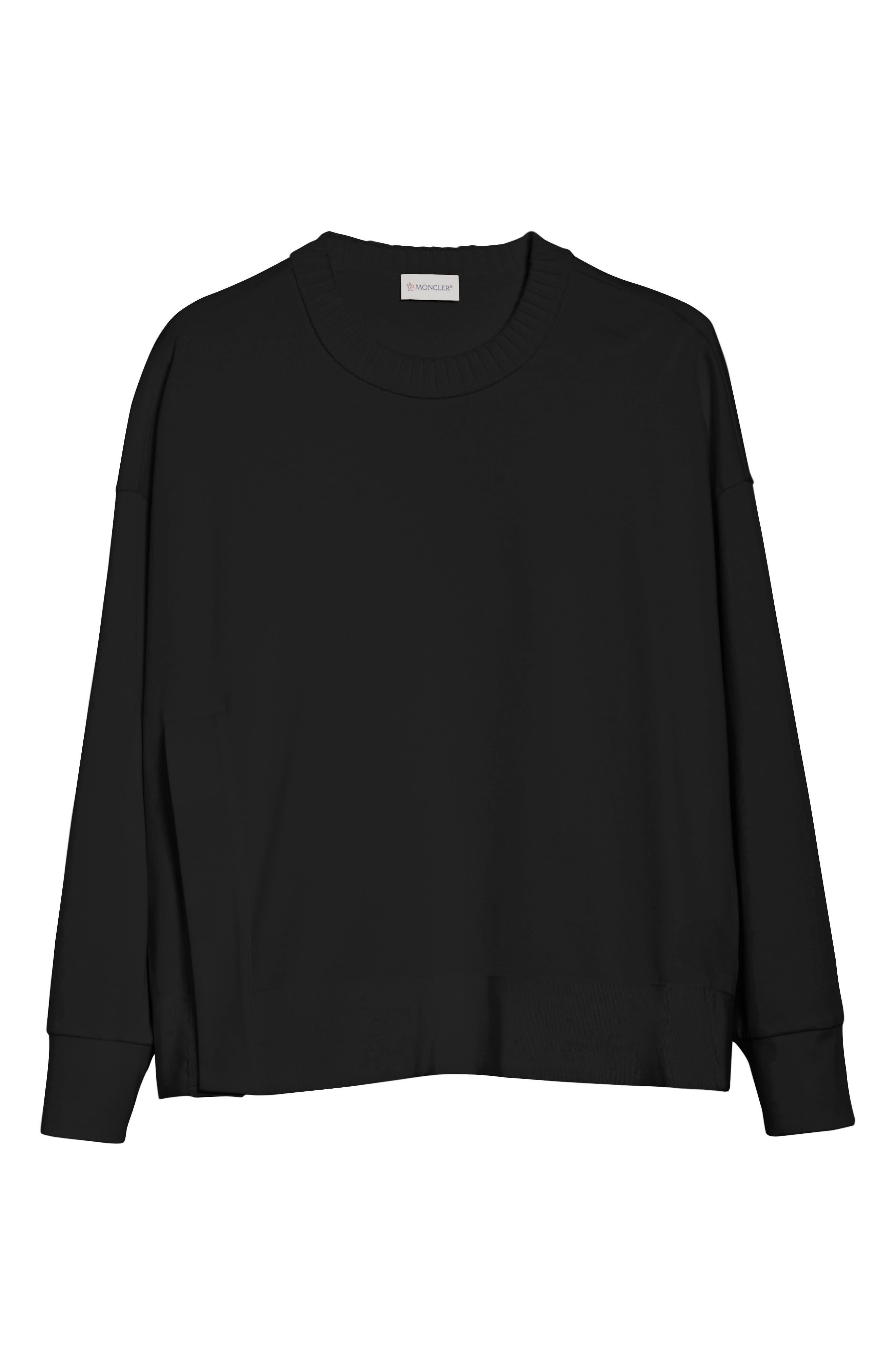 Cotton Sweatshirt,                             Alternate thumbnail 6, color,                             Black