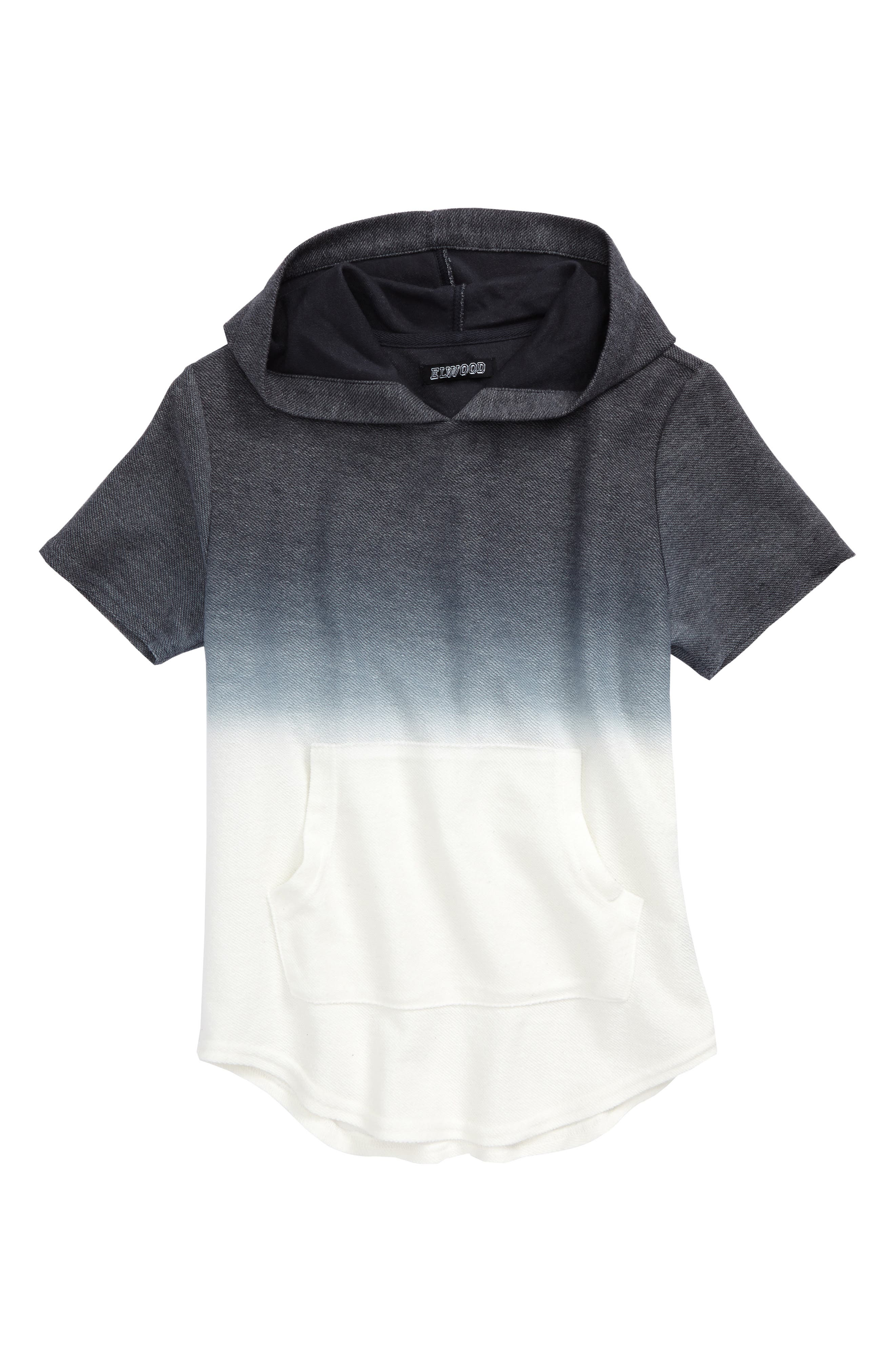 Ombré Short Sleeve Hoodie,                         Main,                         color, Steel Ombre