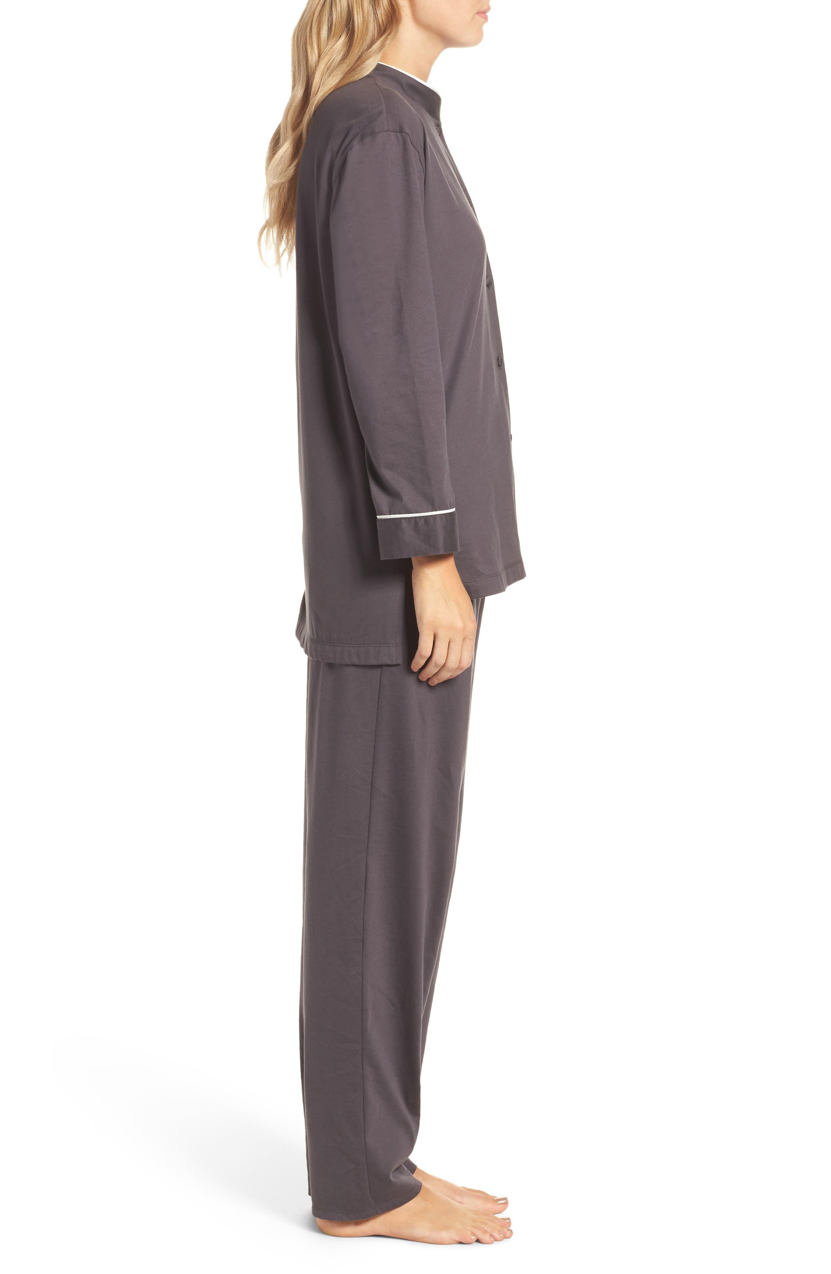 Bliss Supima<sup>®</sup> Cotton Mandarin Pajamas,                             Alternate thumbnail 3, color,                             Graphite