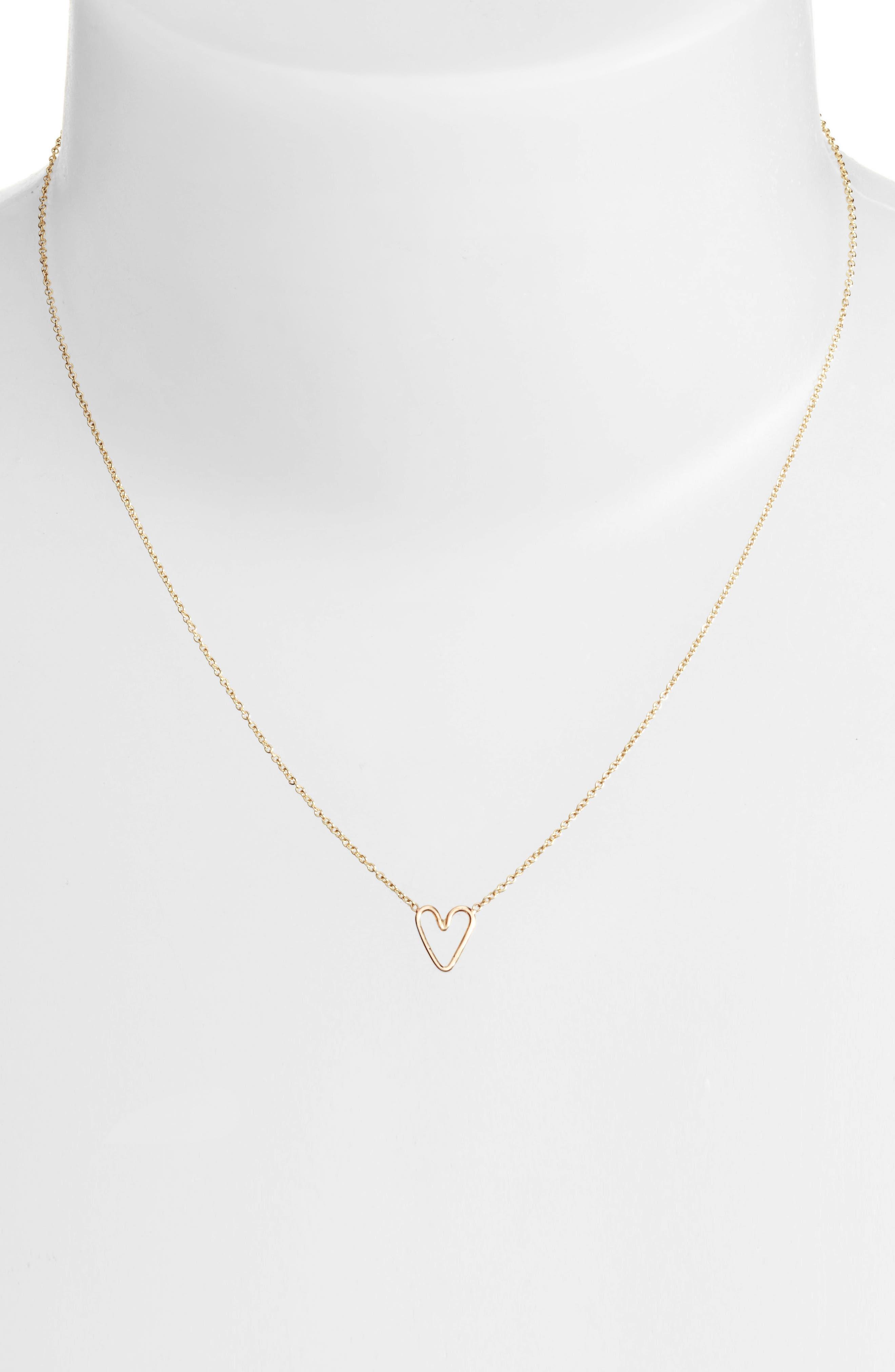 Alternate Image 2  - Zoë Chicco Tiny Open Heart Pendant Necklace