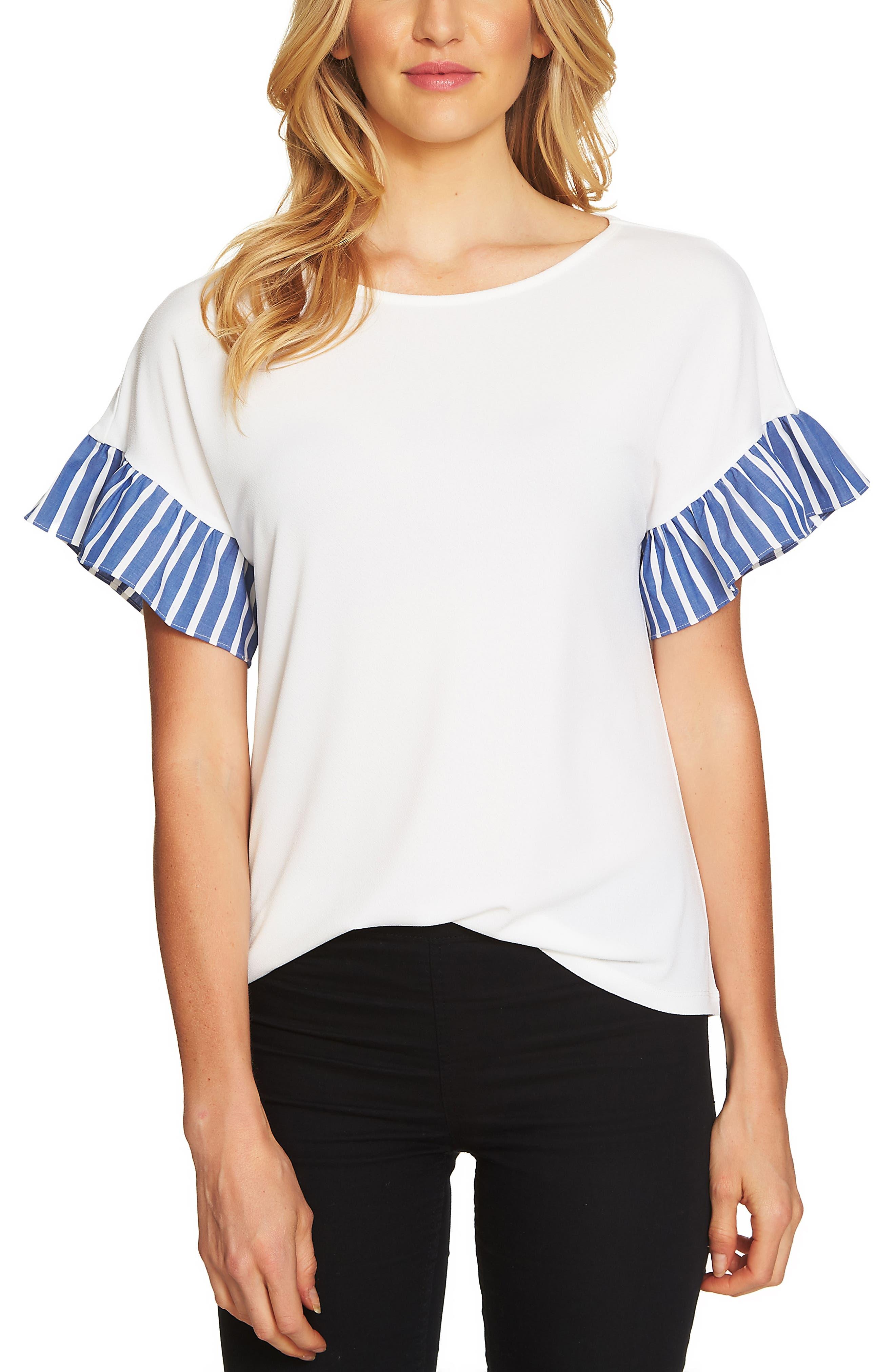 Alternate Image 1 Selected - CeCe Stripe Ruffle Sleeve Top