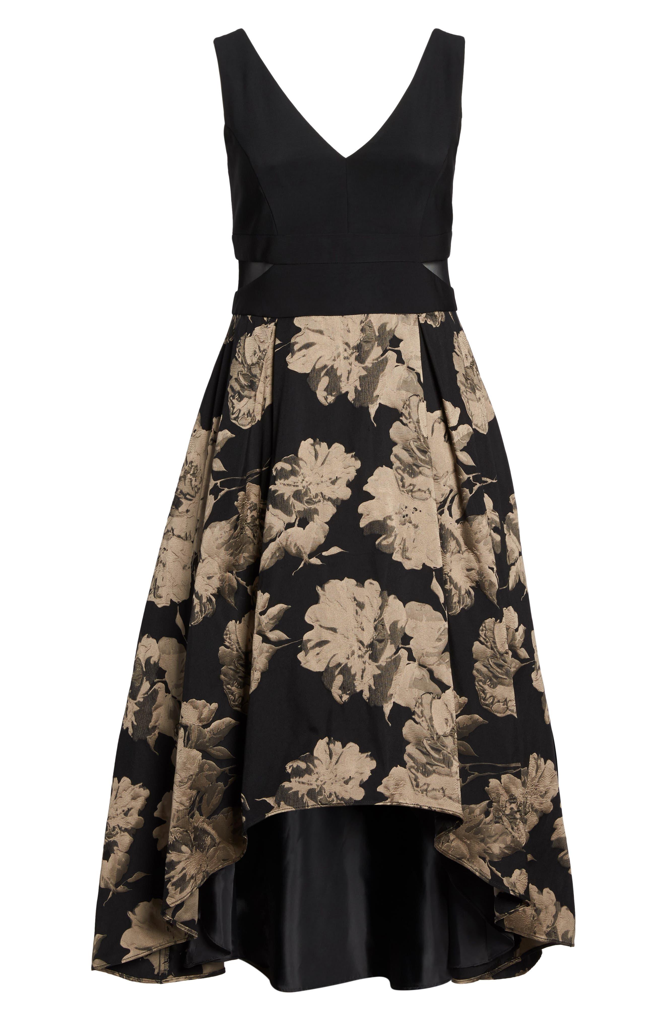 Mesh Waist High/Low Brocade Dress,                             Alternate thumbnail 6, color,                             Black/ Champagne