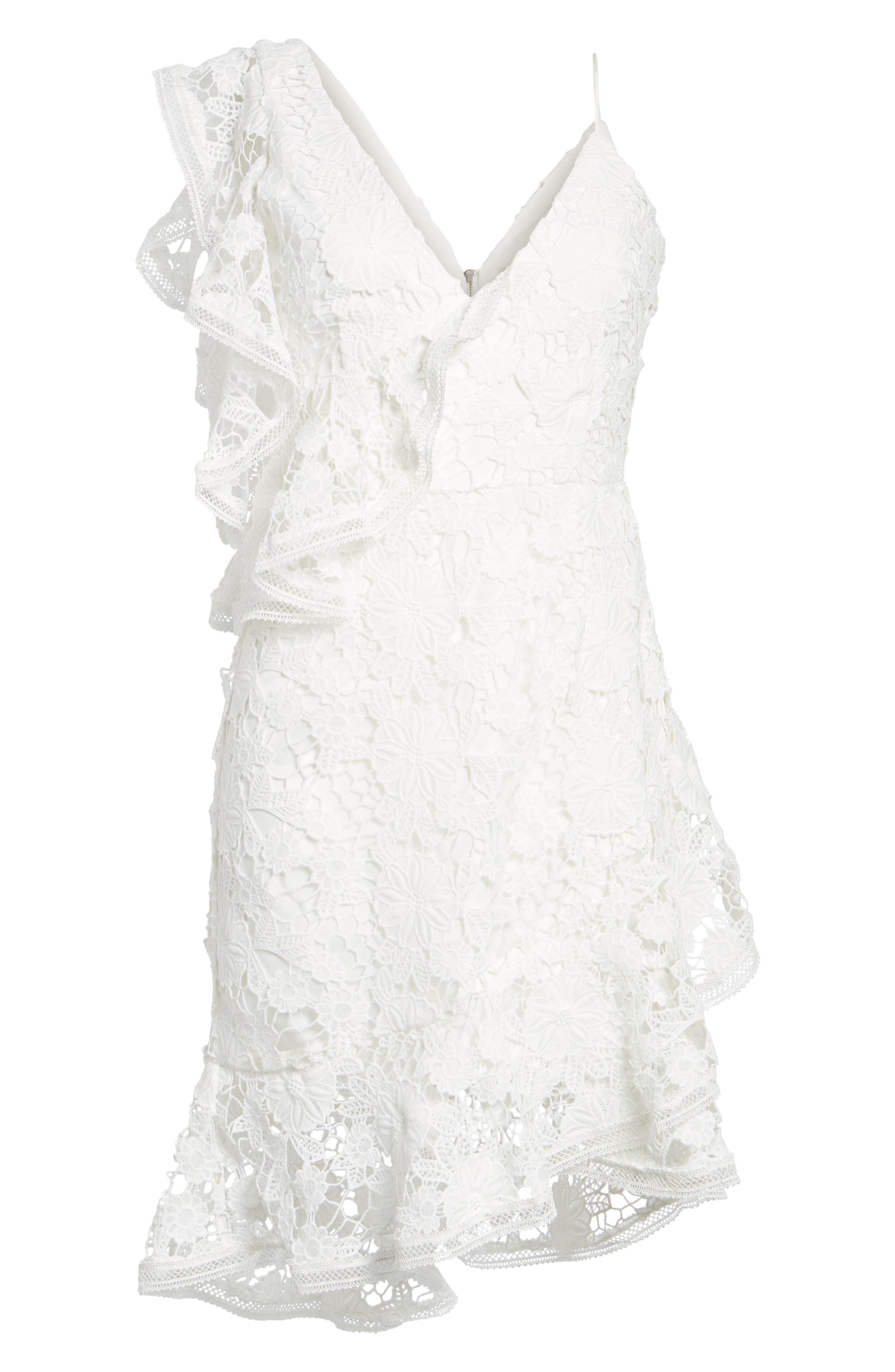Frameless Lace Sheath Dress,                             Alternate thumbnail 7, color,                             Ivory