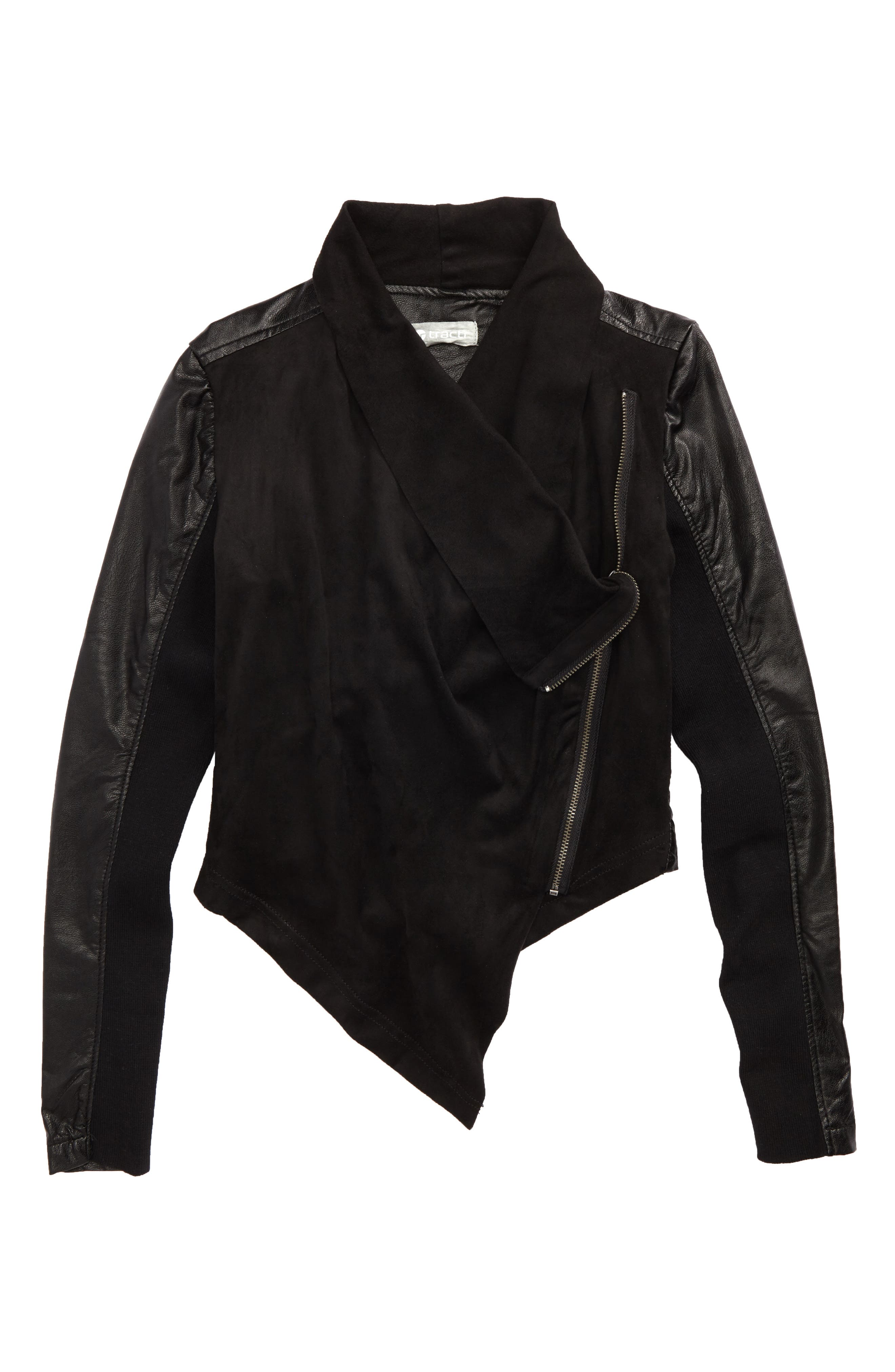 Main Image - Tractr Asymmetrical Faux Leather Jacket (Big Girls)