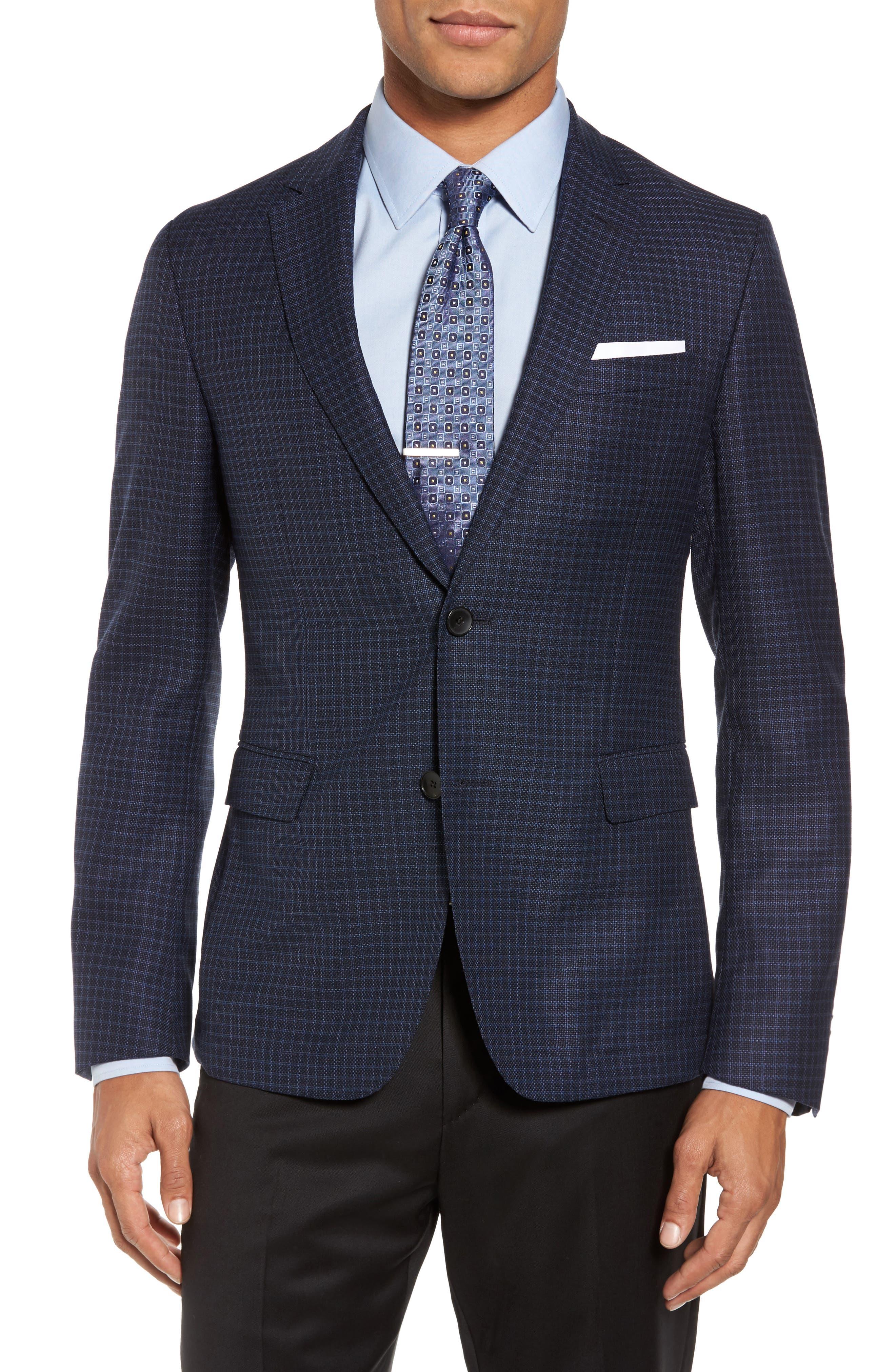Nobis Trim Fit Check Wool Sport Coat,                         Main,                         color, Navy