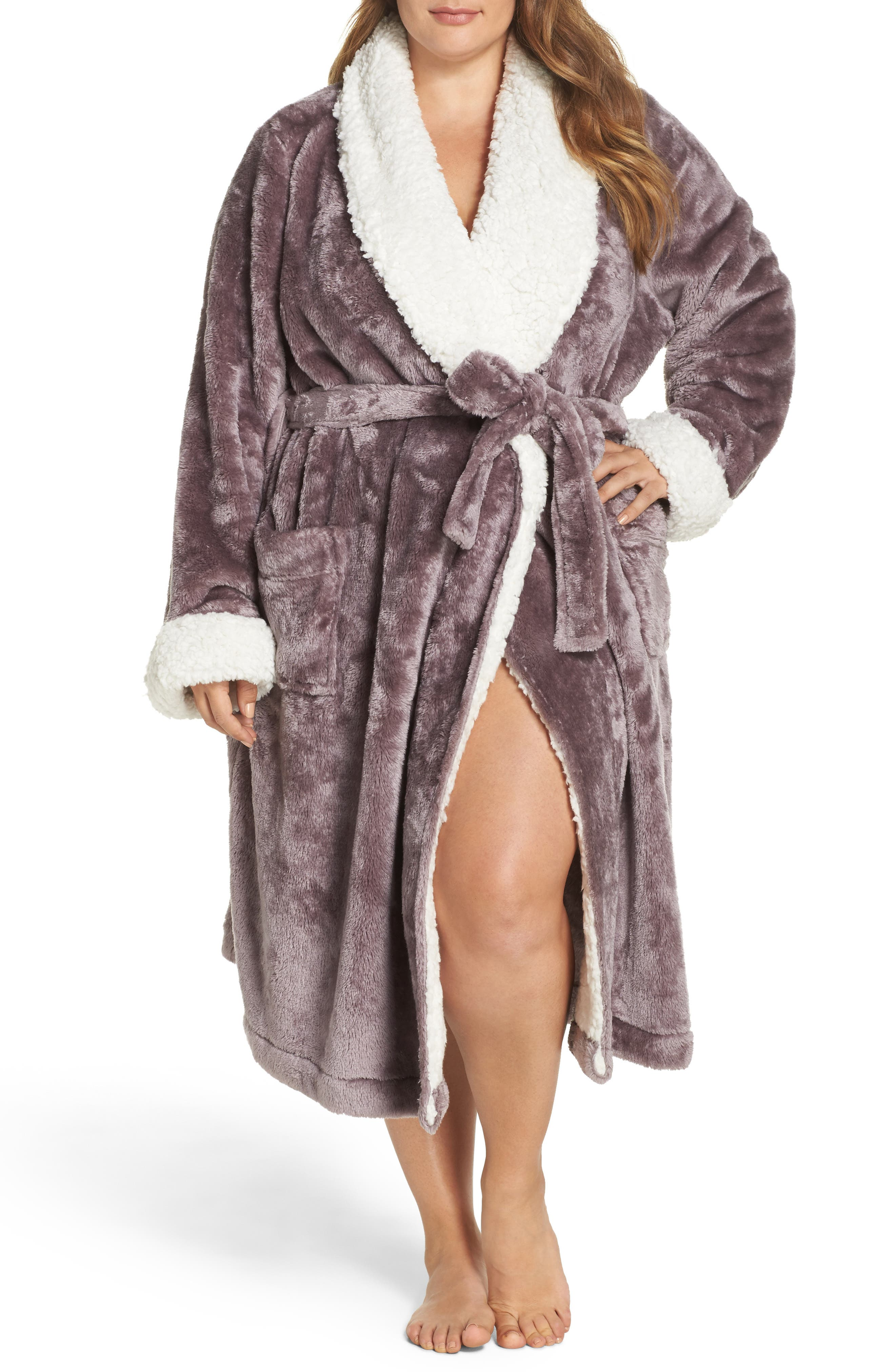 Alternate Image 1 Selected - Nordstrom Lingerie Frosted Plush Robe (Plus Size)