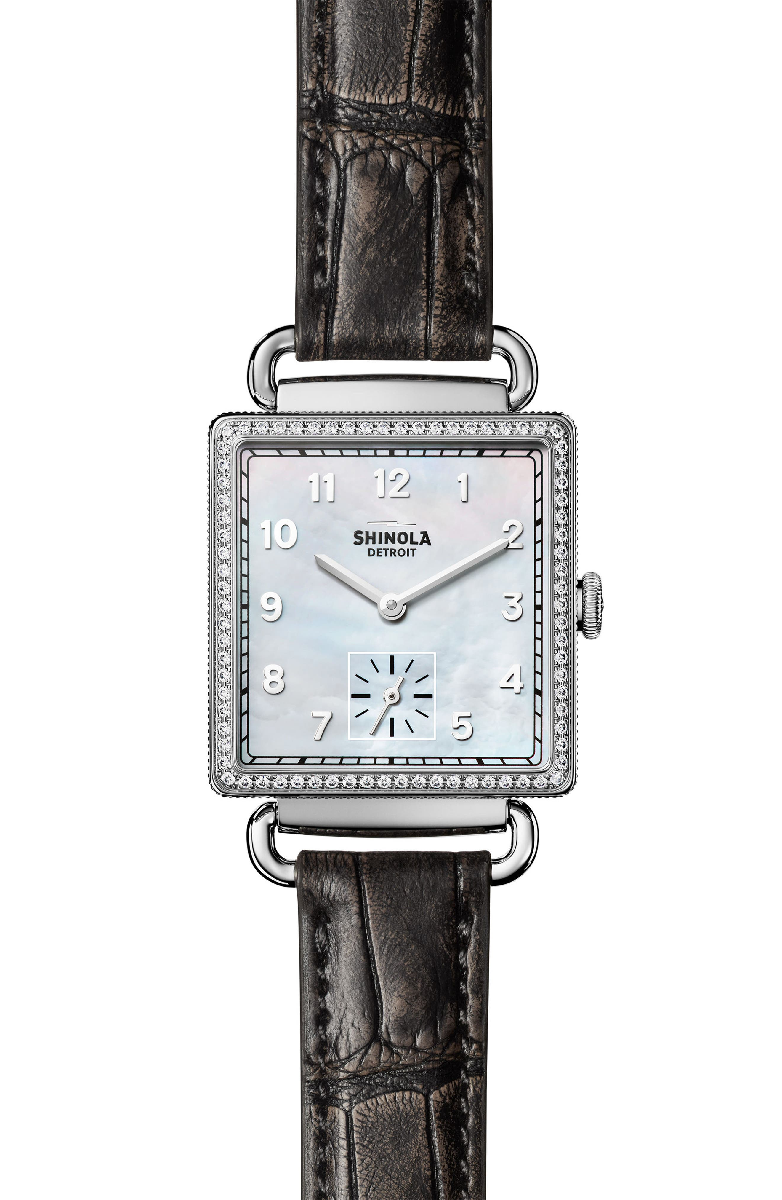 Cass Diamond Leather Strap Watch, 28mm x 27mm,                         Main,                         color, Grey/ White/ Silver