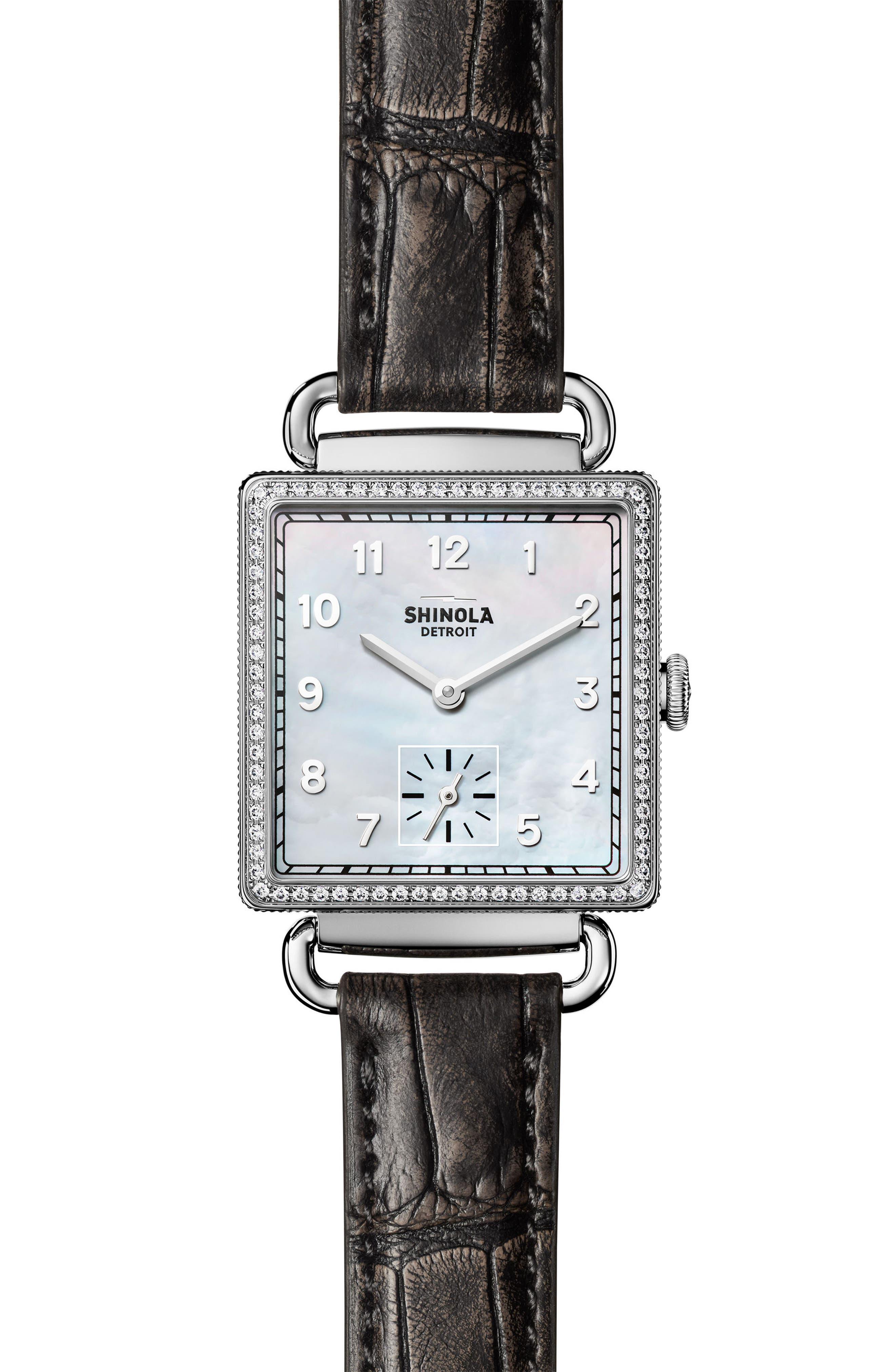 Shinola Cass Diamond Leather Strap Watch, 28mm x 27mm