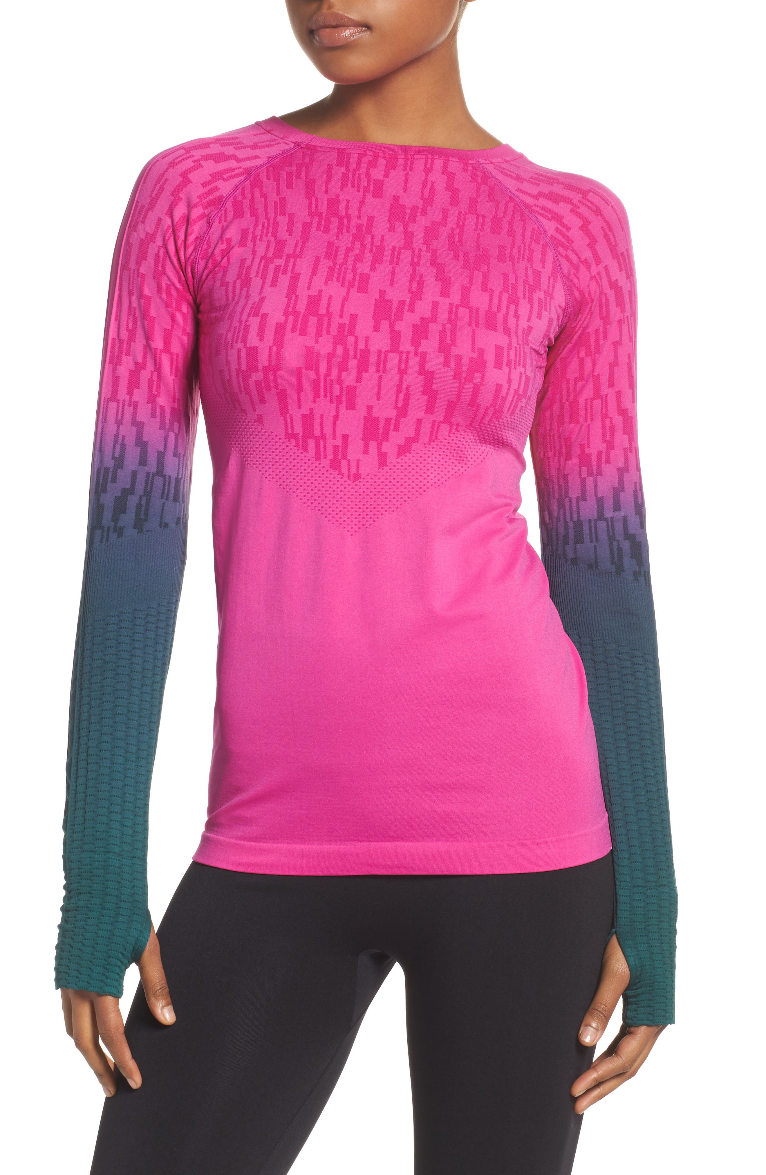 Odyssey Running Tee,                             Main thumbnail 1, color,                             Pink/ Nocturne Green