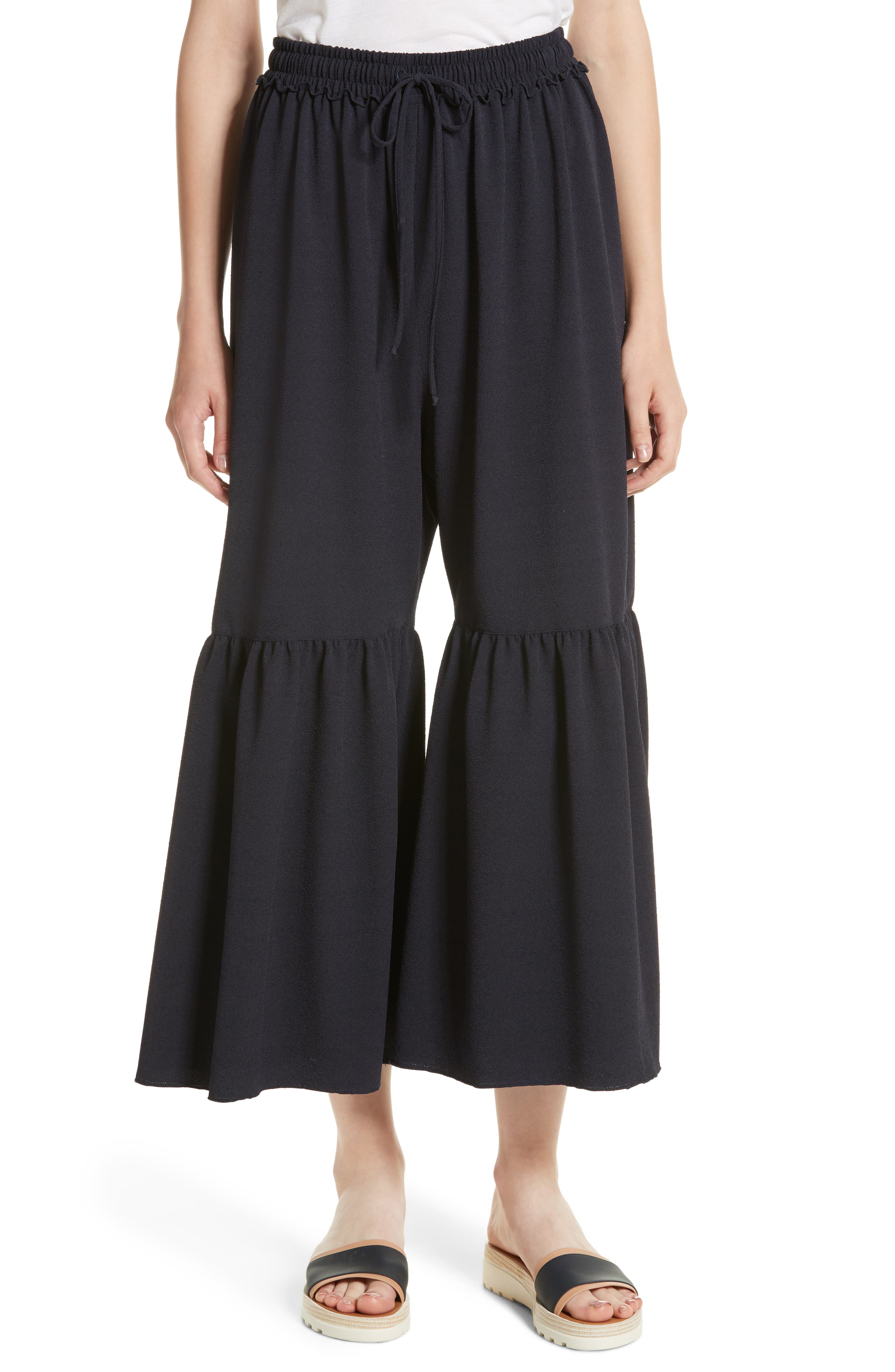 Moroccan Flare Pants,                         Main,                         color, Navy
