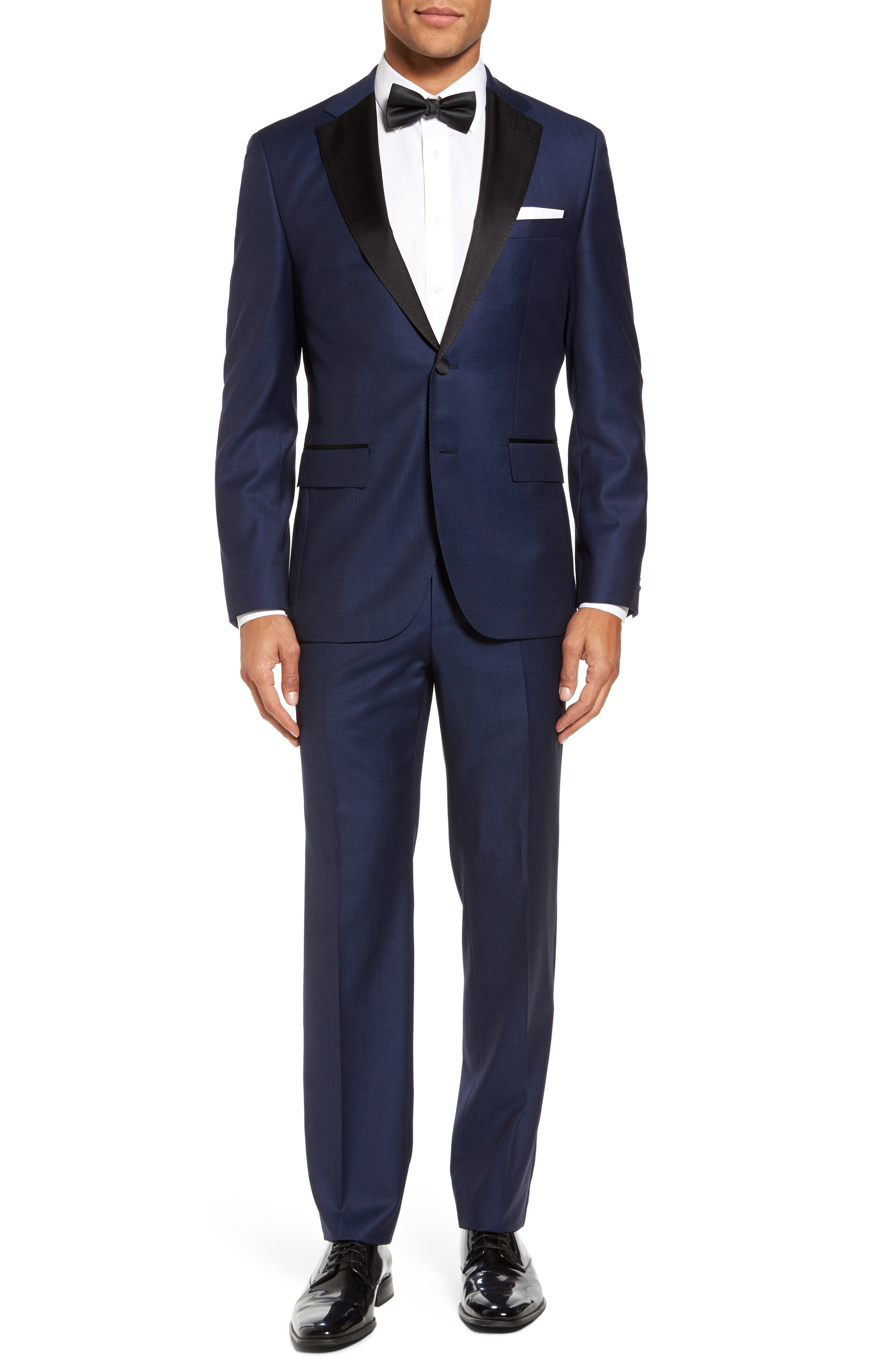 Jelvan/Livan Trim Fit Wool & Silk Tuxedo,                             Main thumbnail 1, color,                             Medium Blue