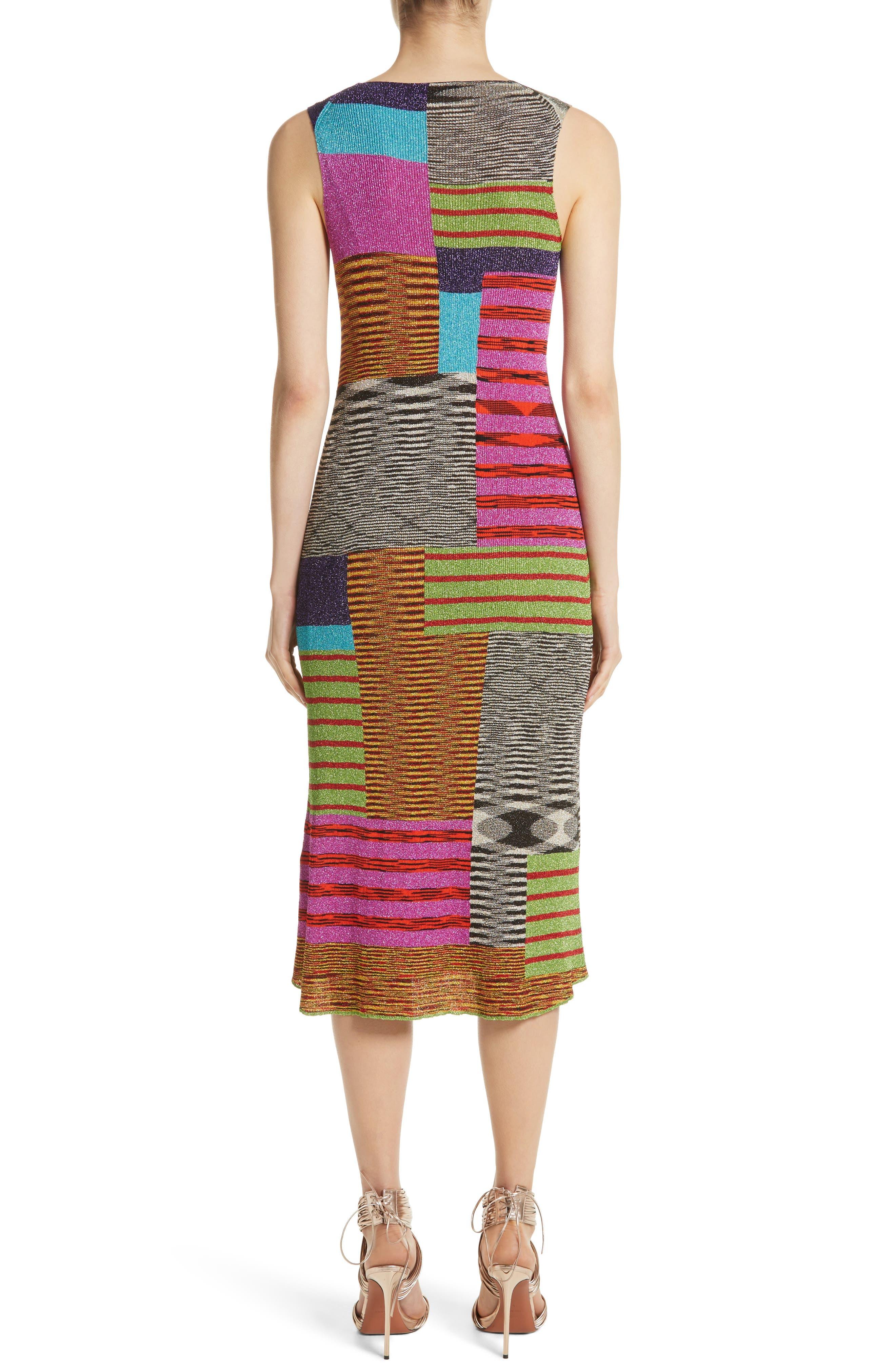 Metallic Patchwork Stripe Knit Dress,                             Alternate thumbnail 2, color,                             Multi