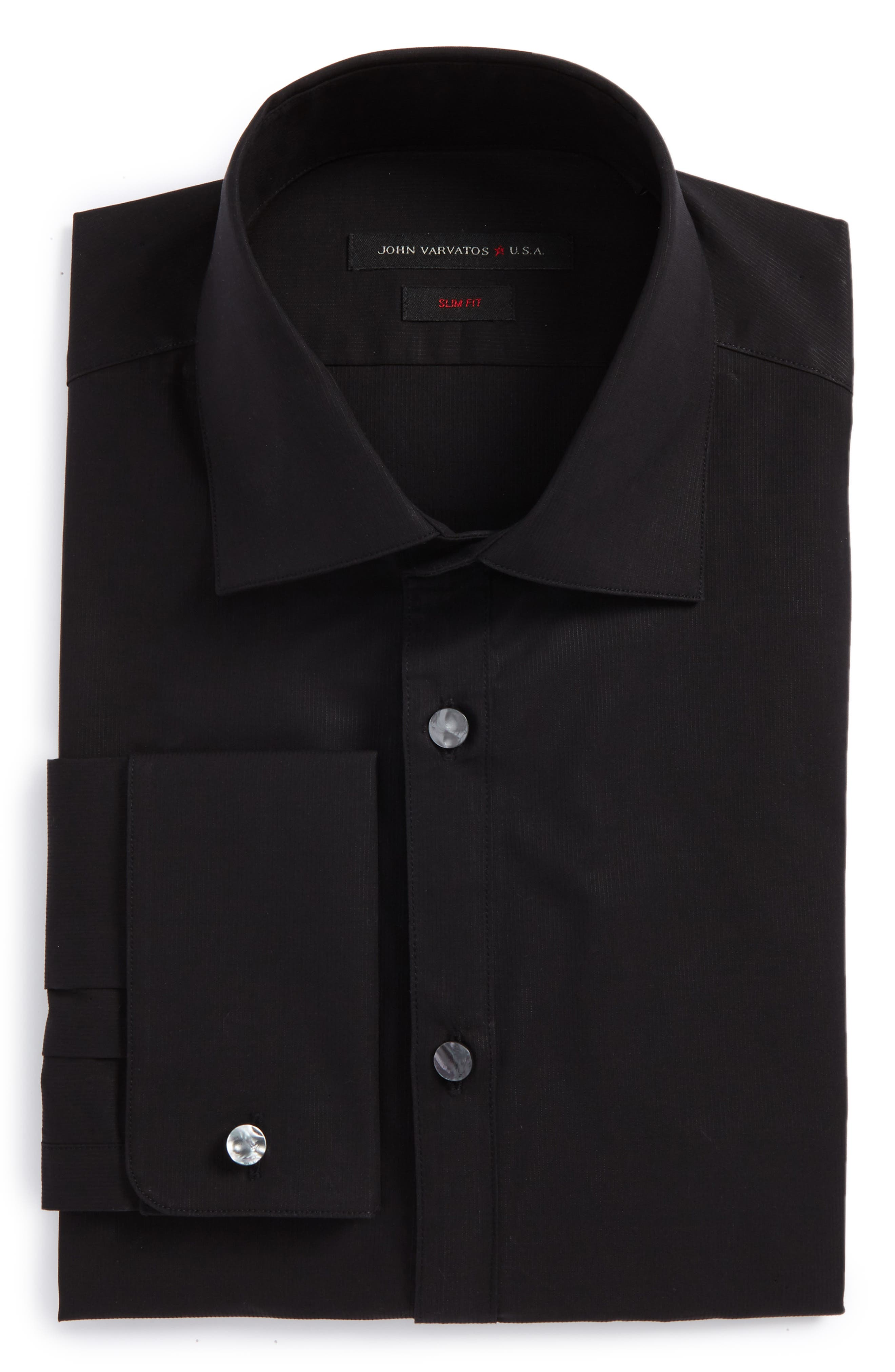 Slim Fit Stretch Solid Dress Shirt,                             Main thumbnail 1, color,                             Black
