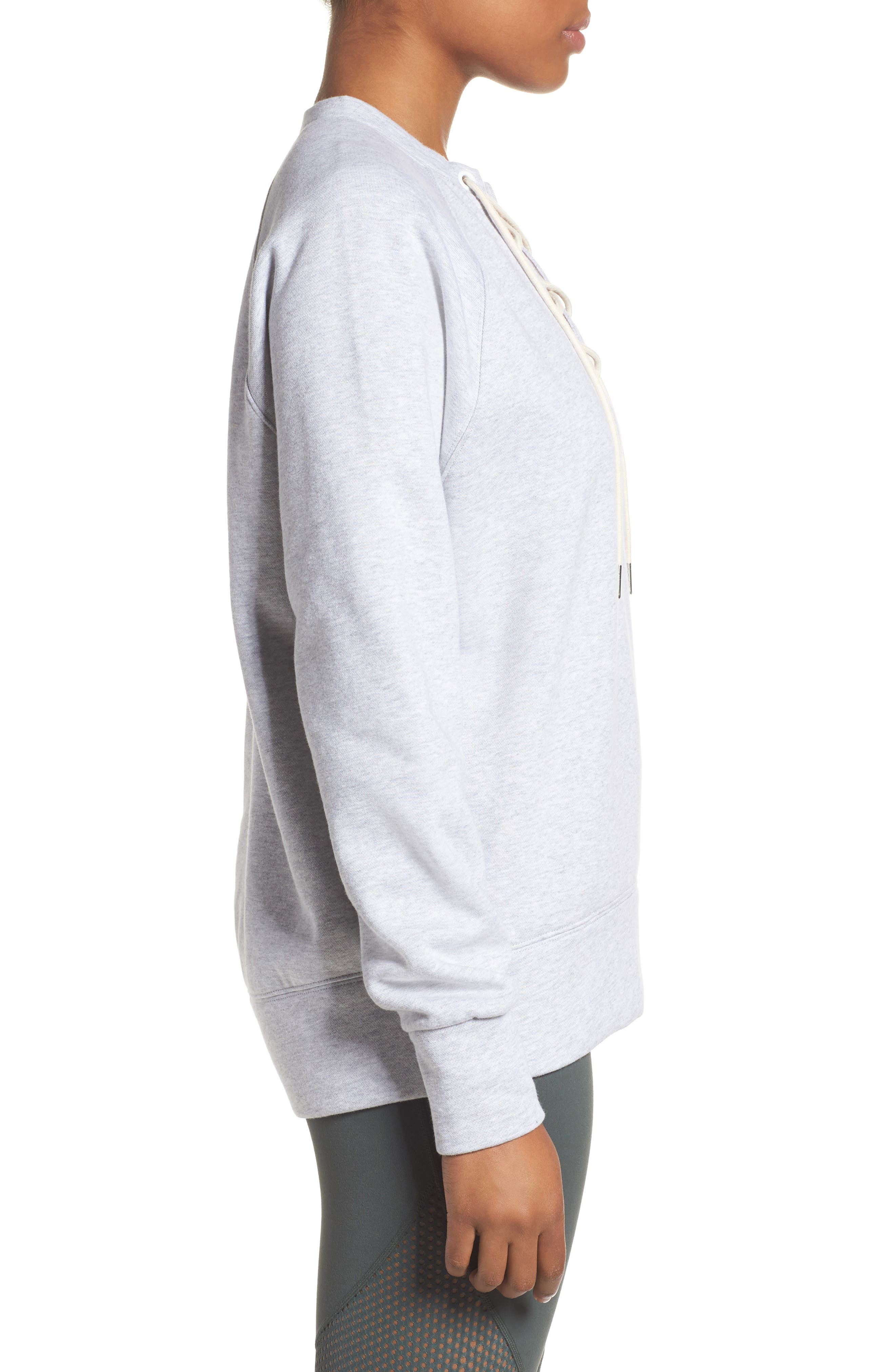 Lace-Up Pullover,                             Alternate thumbnail 3, color,                             Grey Ash Heather