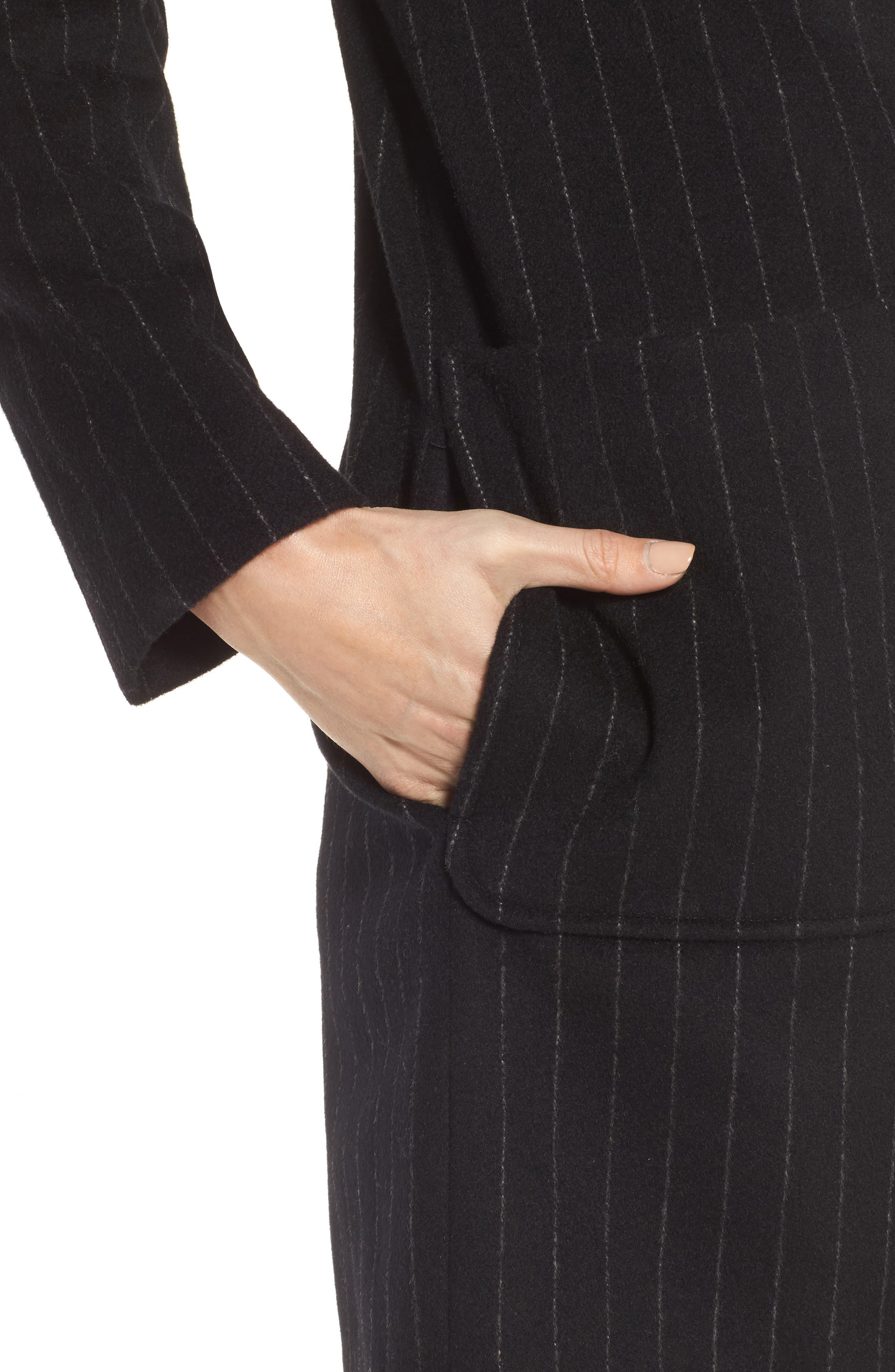 DKNY Pinstripe Wool Blend Coat,                             Alternate thumbnail 4, color,                             Black