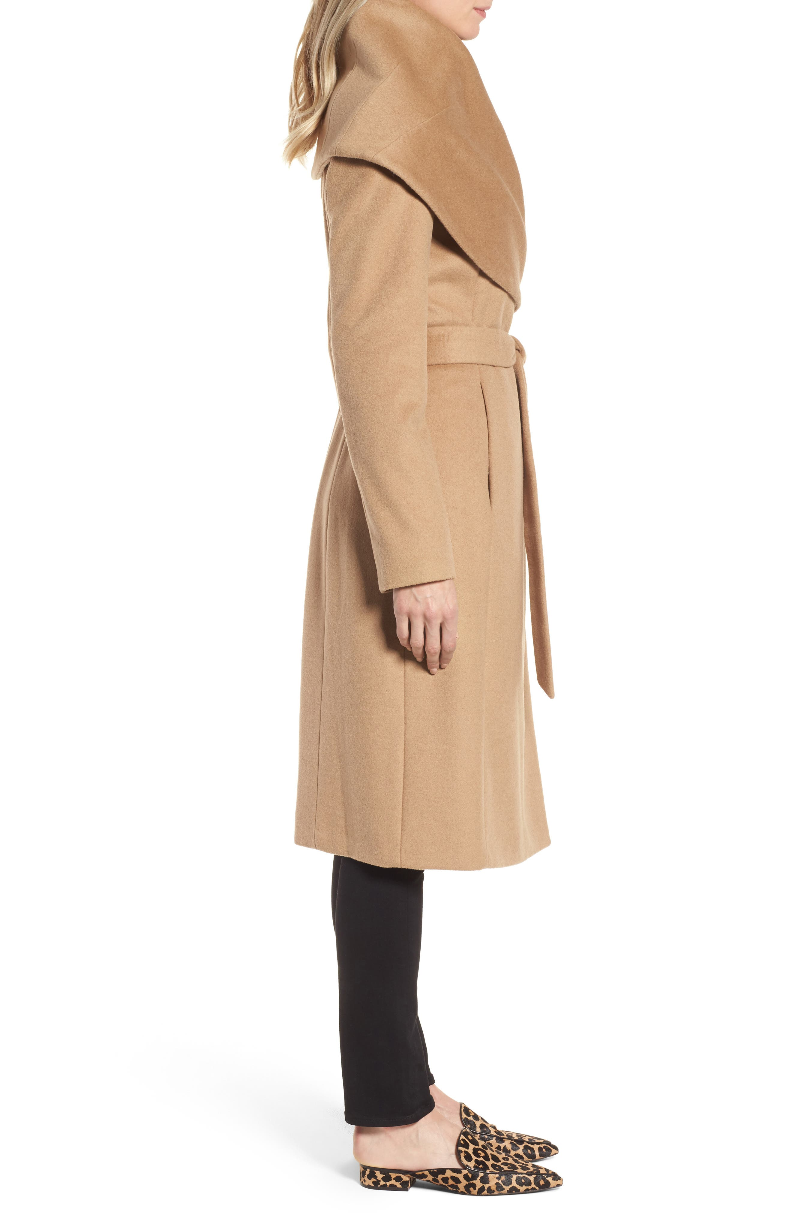 DKNY Wool Blend Shawl Collar Wrap Coat,                             Alternate thumbnail 3, color,                             Camel