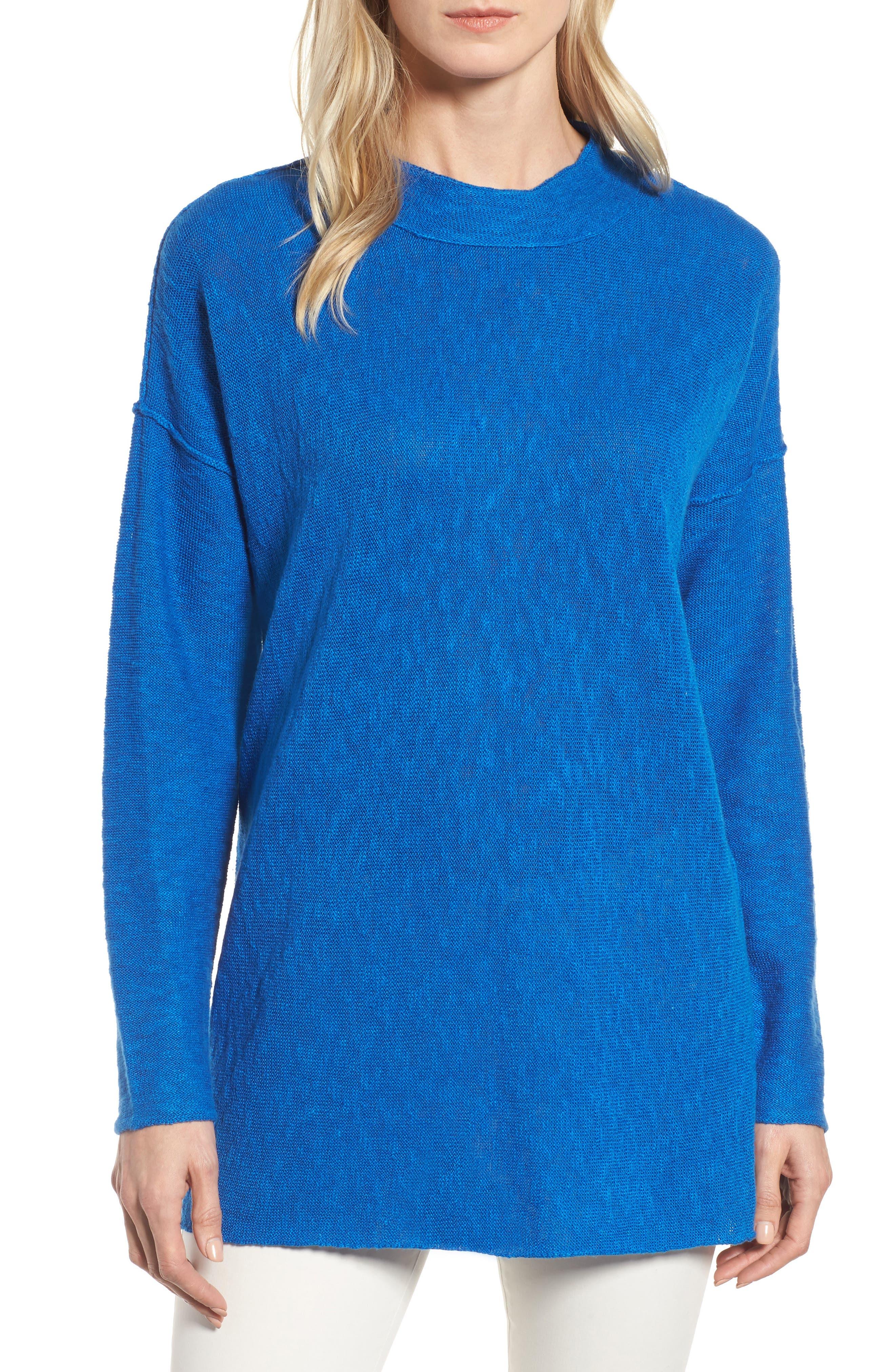 Organic Linen & Cotton Sweater,                         Main,                         color, Catalina