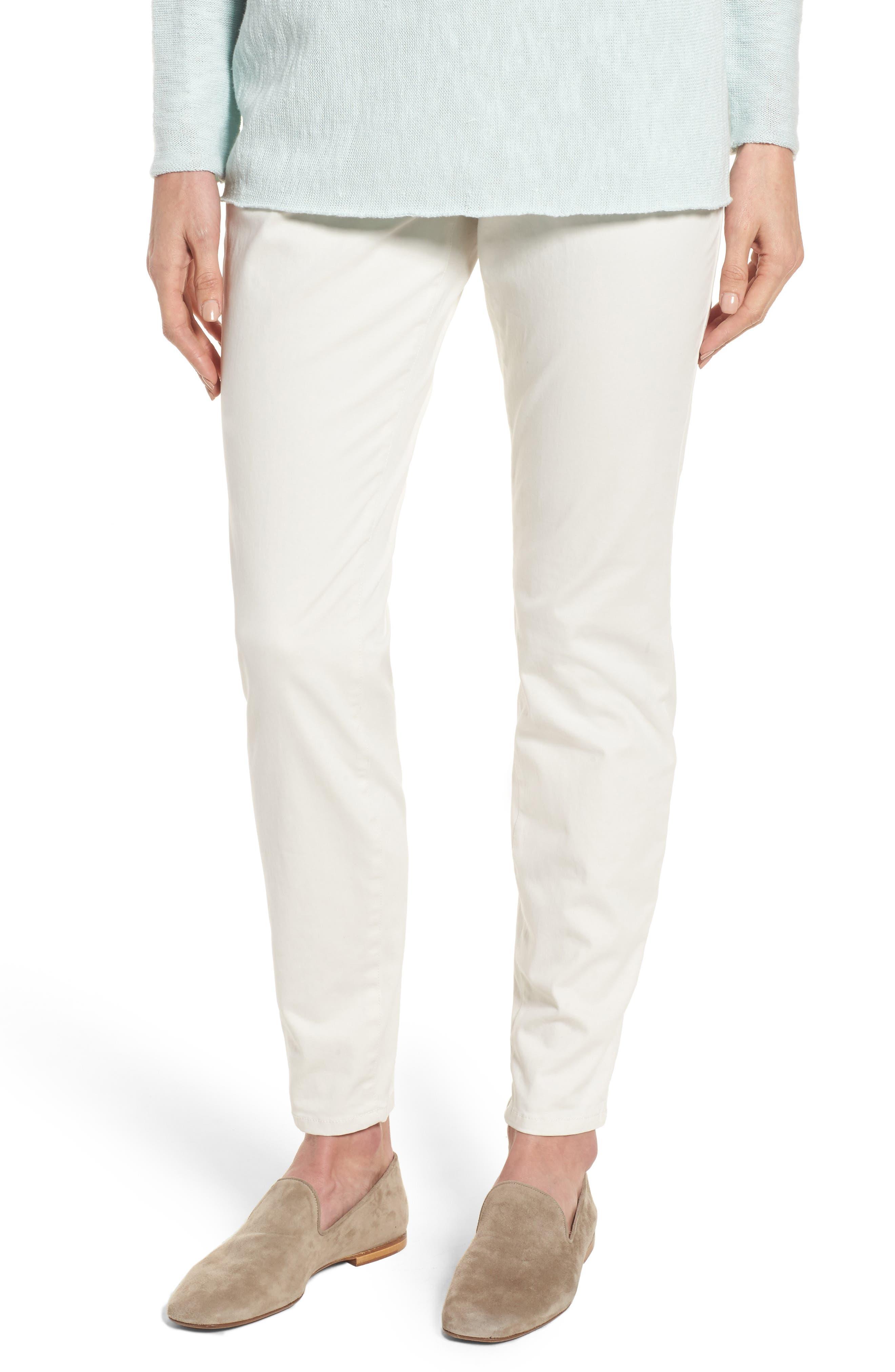 Stretch Organic Cotton Denim Skinny Pants,                             Main thumbnail 1, color,                             Bone