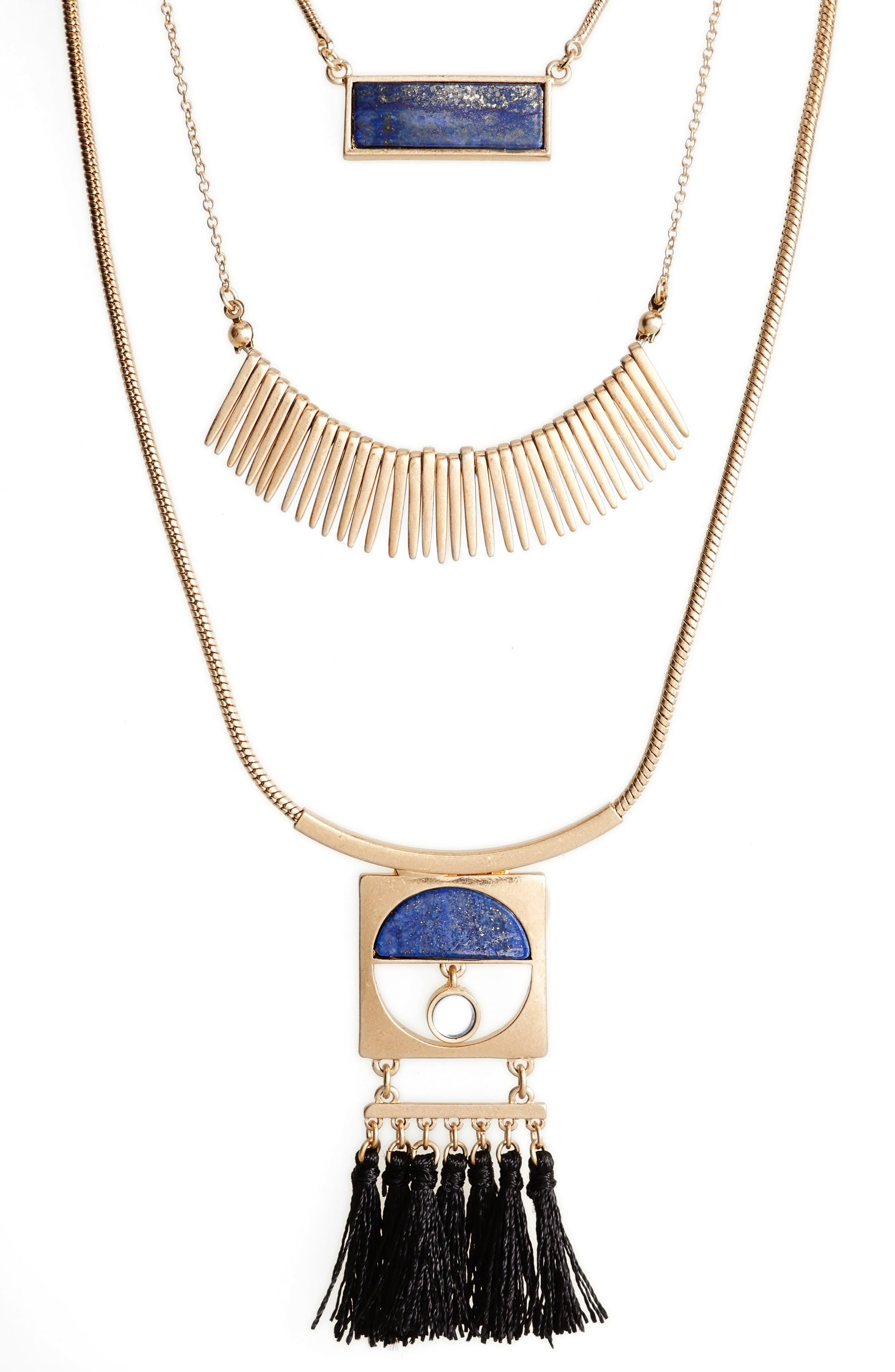 Layered Fringe Lapis Necklace,                             Alternate thumbnail 2, color,                             Gold/ Blue Lapis