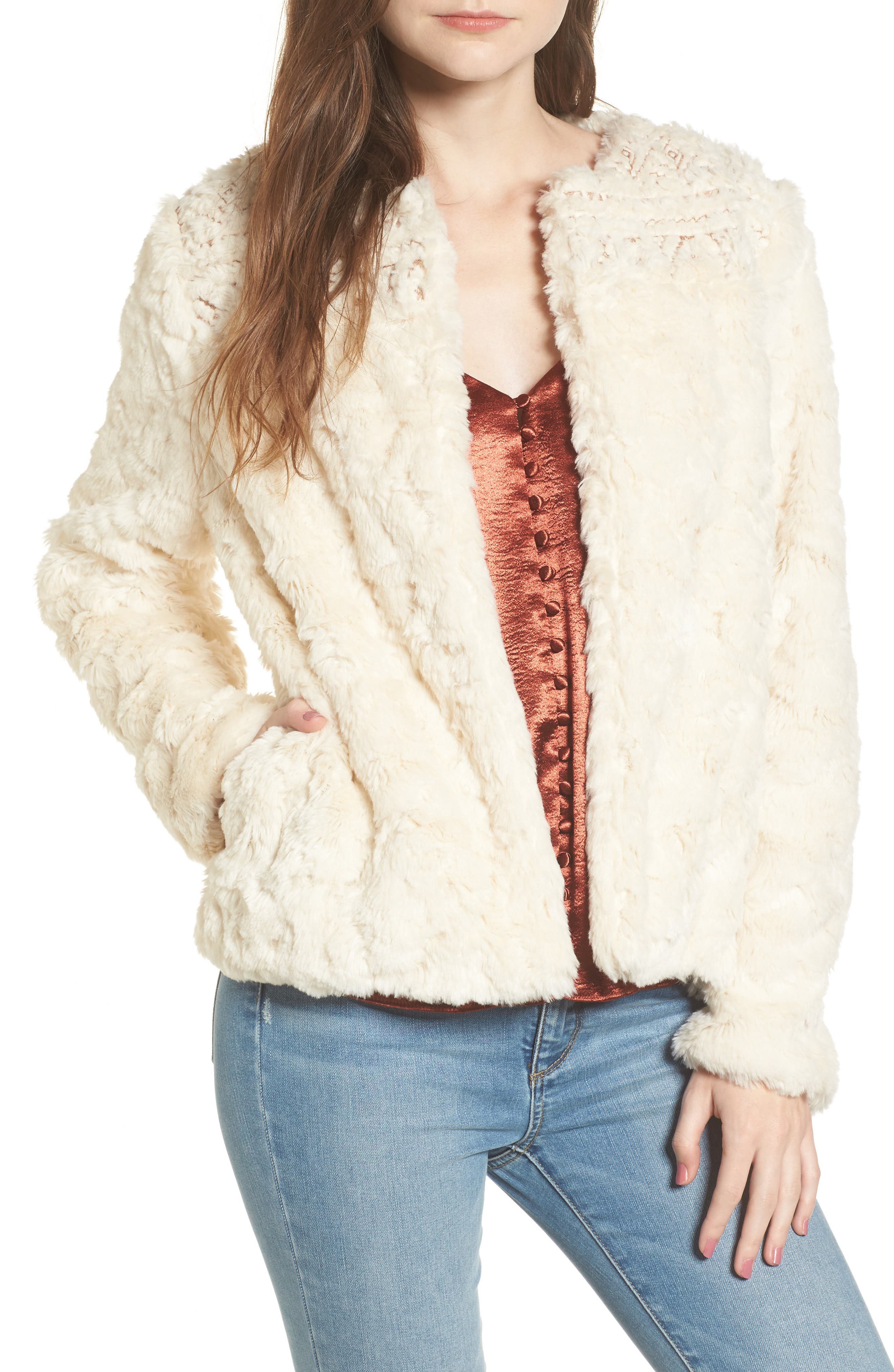 Lost + Wander Metallic Embroidery Faux Fur Jacket