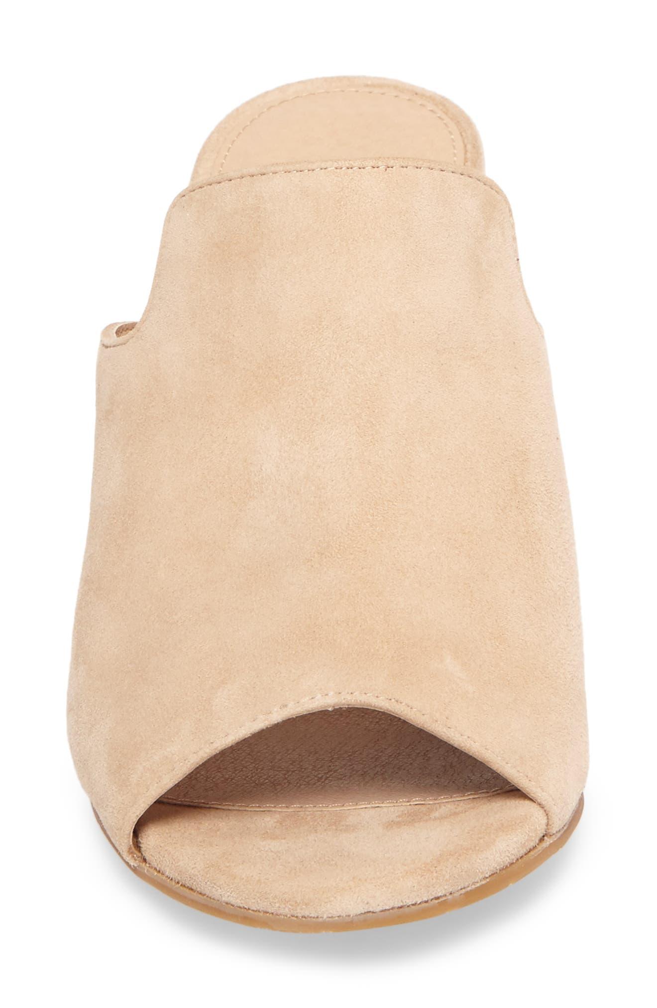 Blair Peep Toe Mule,                             Alternate thumbnail 4, color,                             Sand Leather