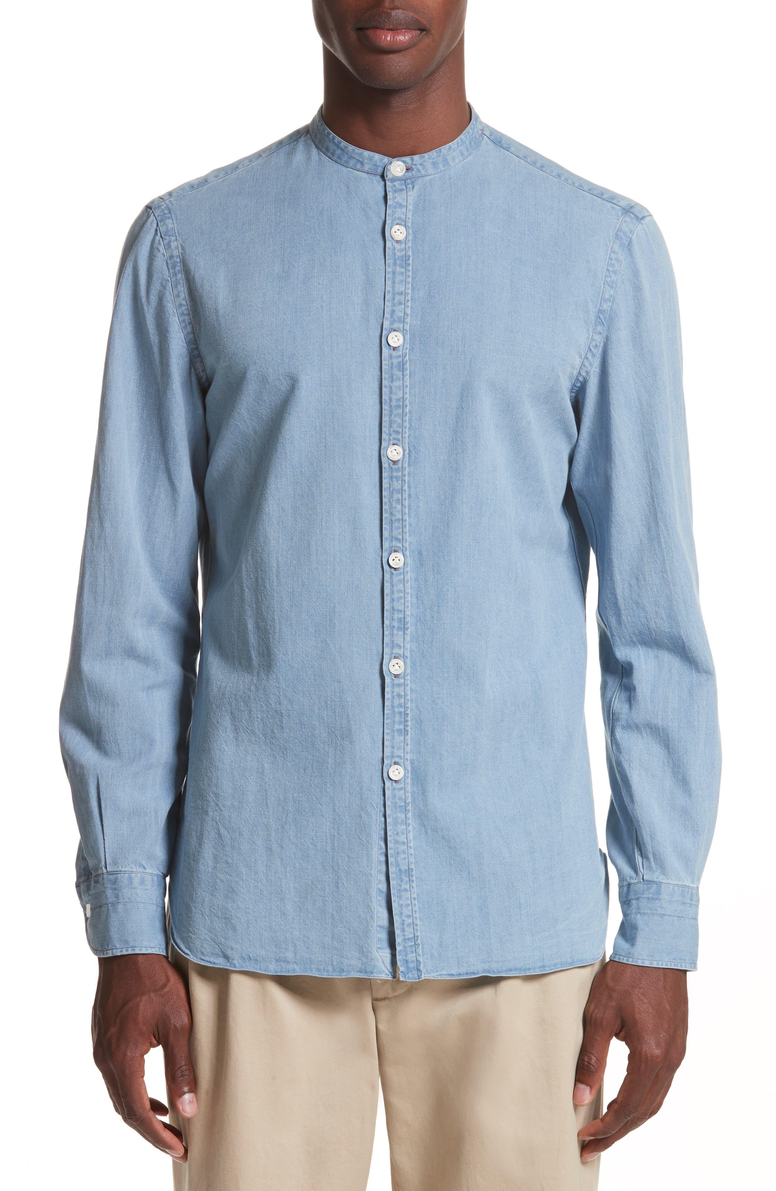 Washed Denim Band Collar Shirt,                         Main,                         color, Blue