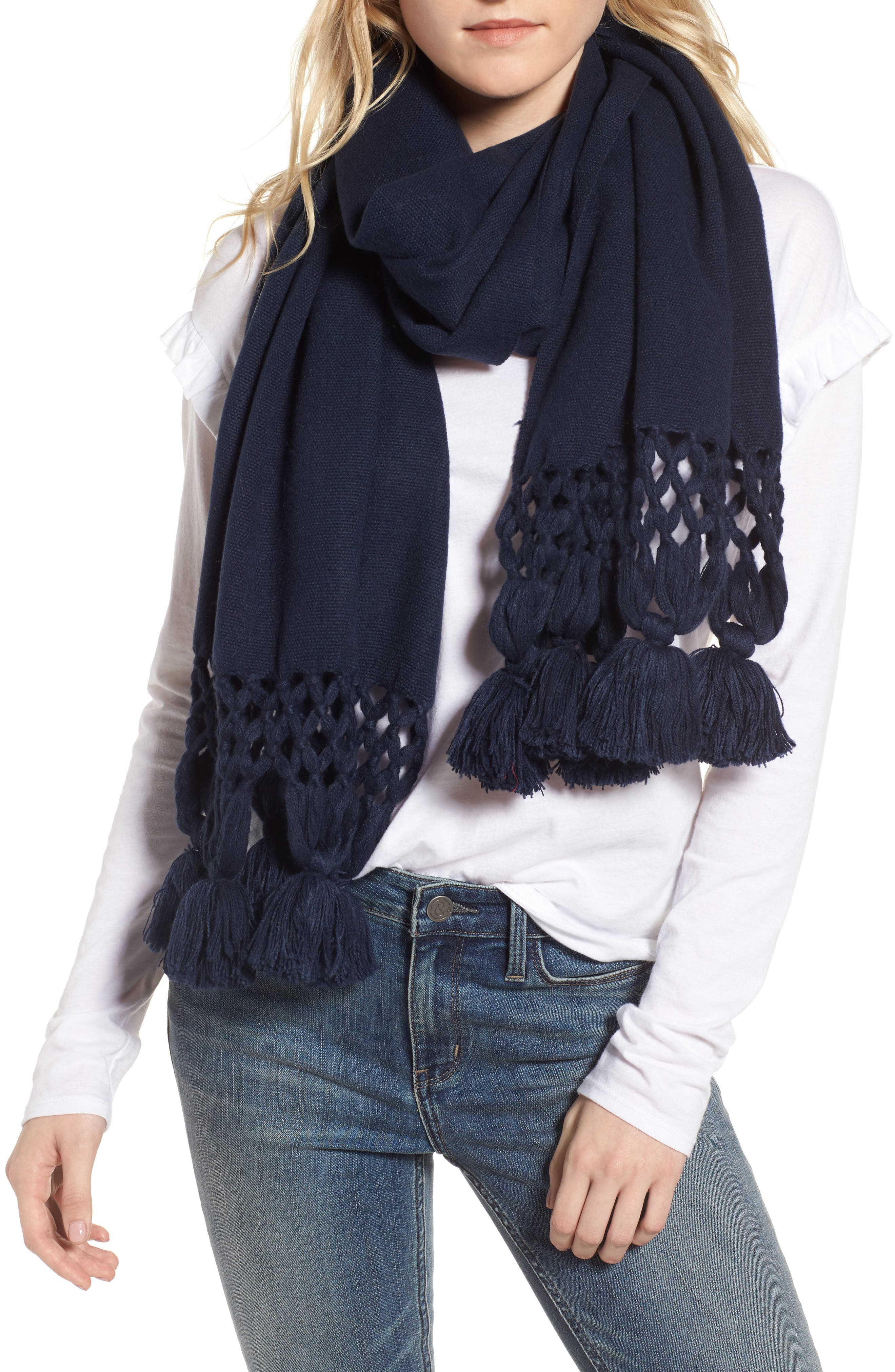 Crochet Trim Wrap Scarf,                             Alternate thumbnail 4, color,                             Navy Blazer