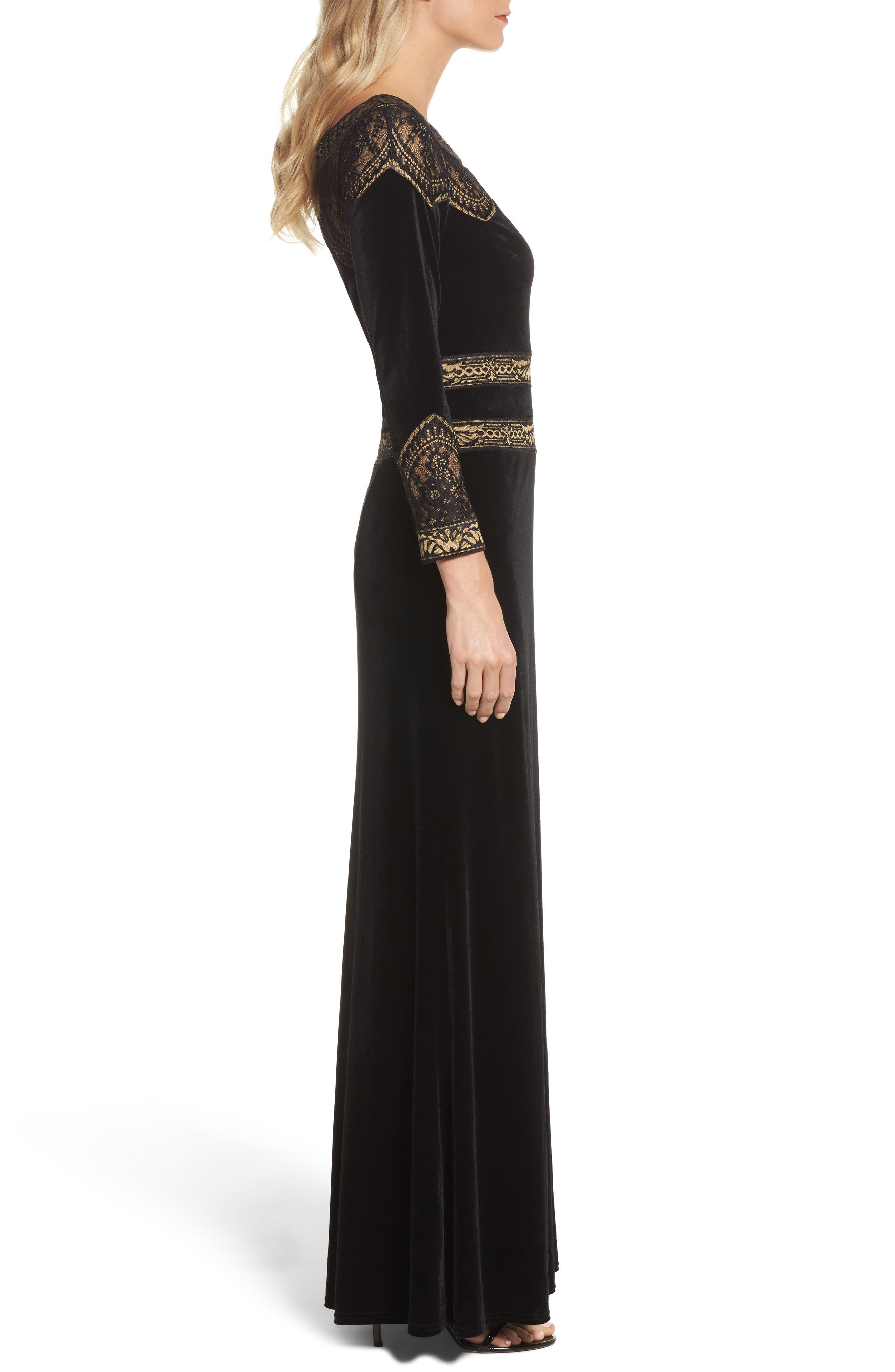 Lace Trim Velvet Gown,                             Alternate thumbnail 3, color,                             Black/ Gold