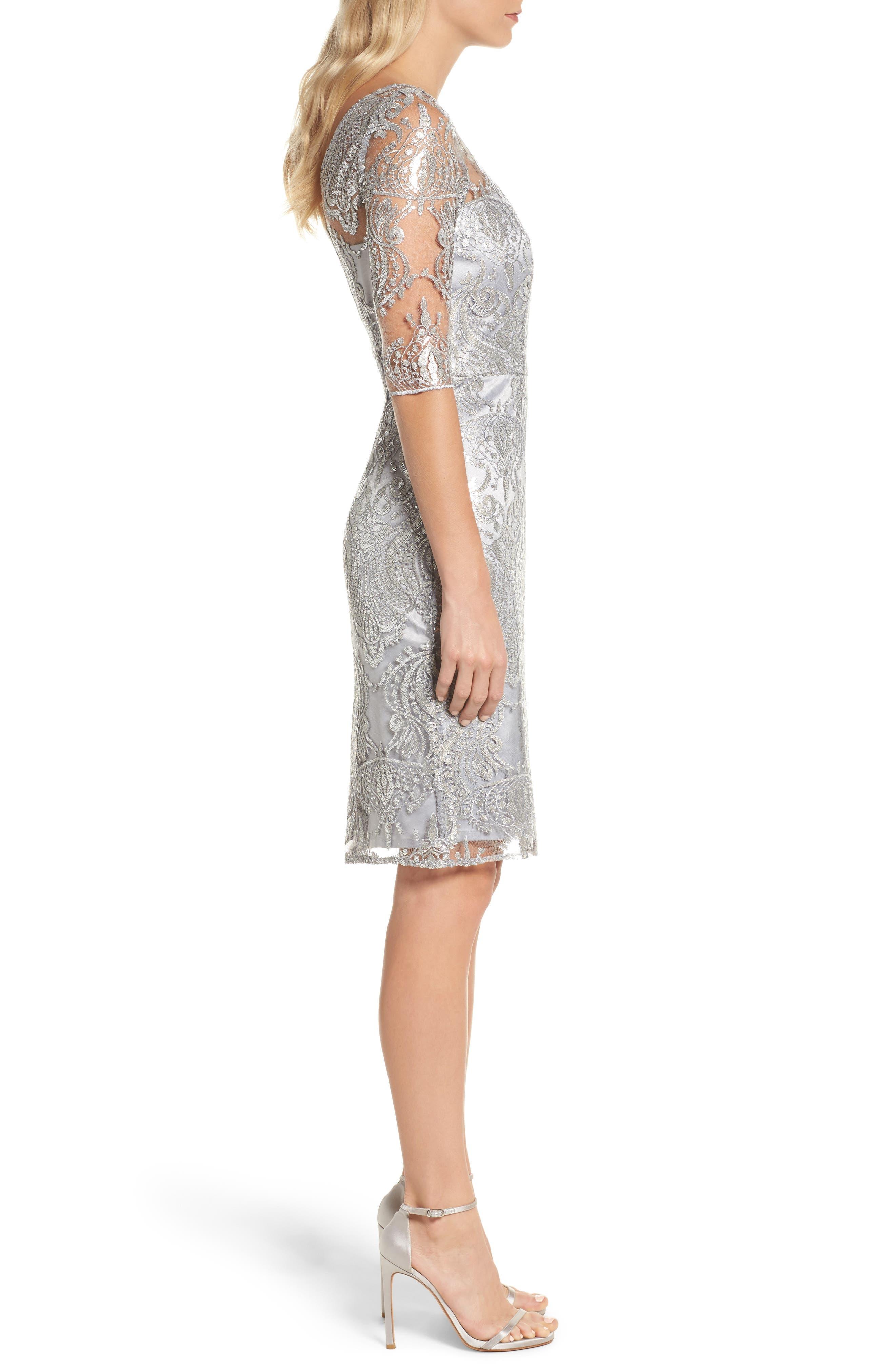 Sequin Illusion Sheath Dress,                             Alternate thumbnail 3, color,                             Silver